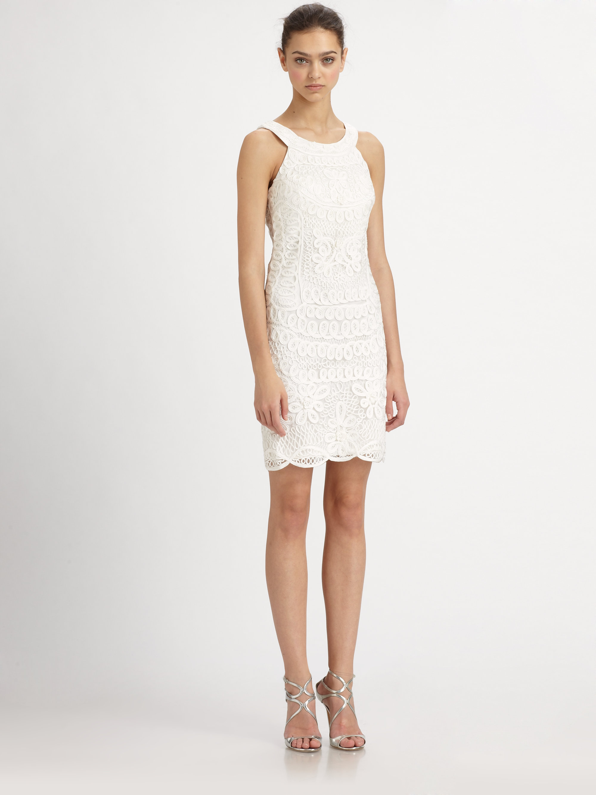 Sue wong soutache embroidery dress in white lyst