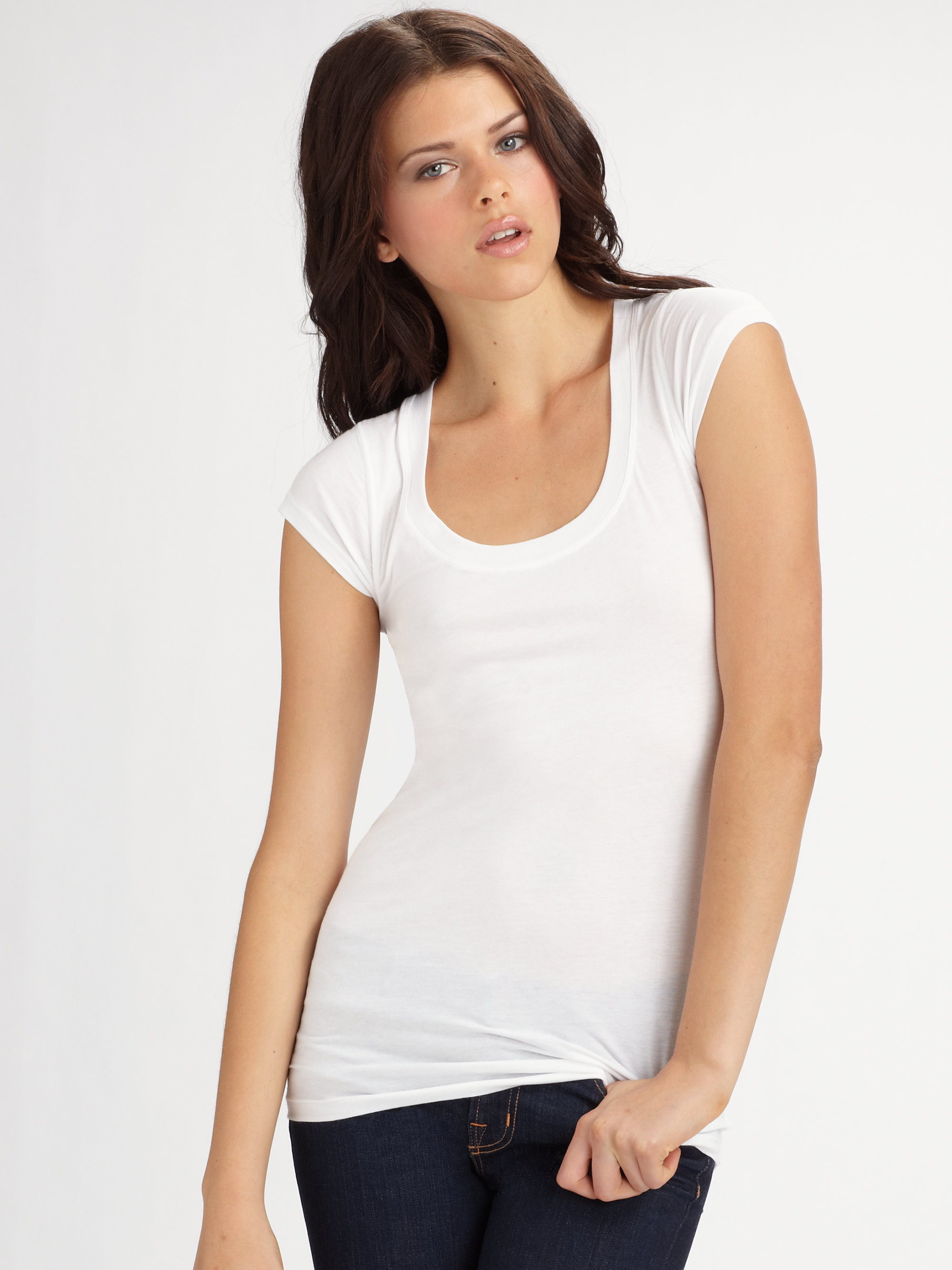 Lyst Theory Juin Scoop Neck Tee In White