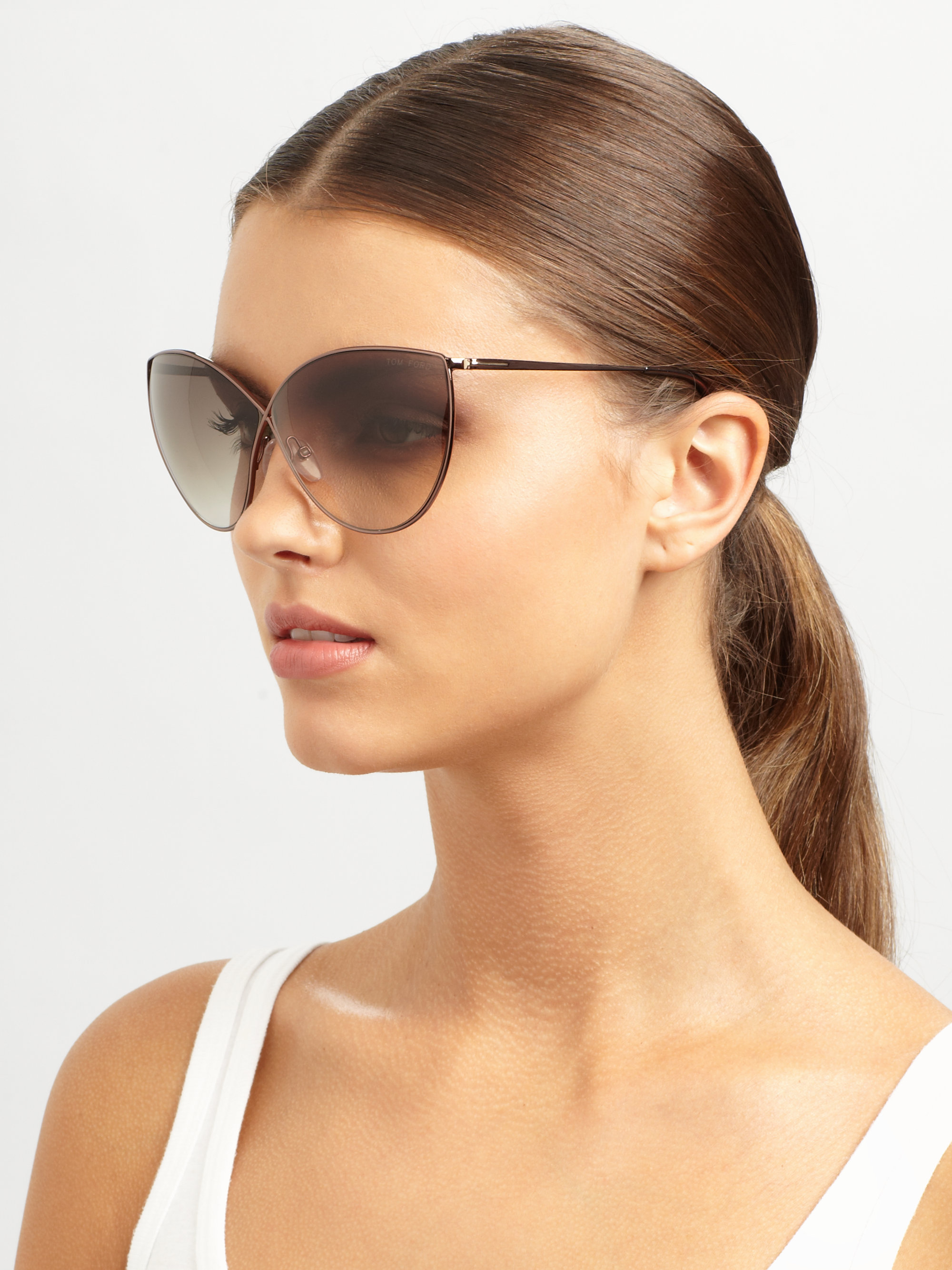 Lyst Tom Ford Evelyn Metal Catseye Sunglasses In Pink