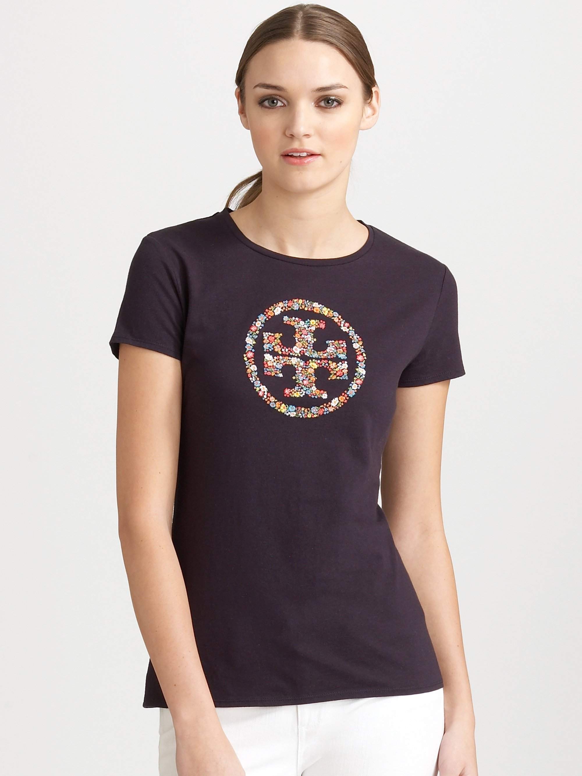 Tory burch embroidered logo tshirt in blue navy lyst for Tory burch t shirt
