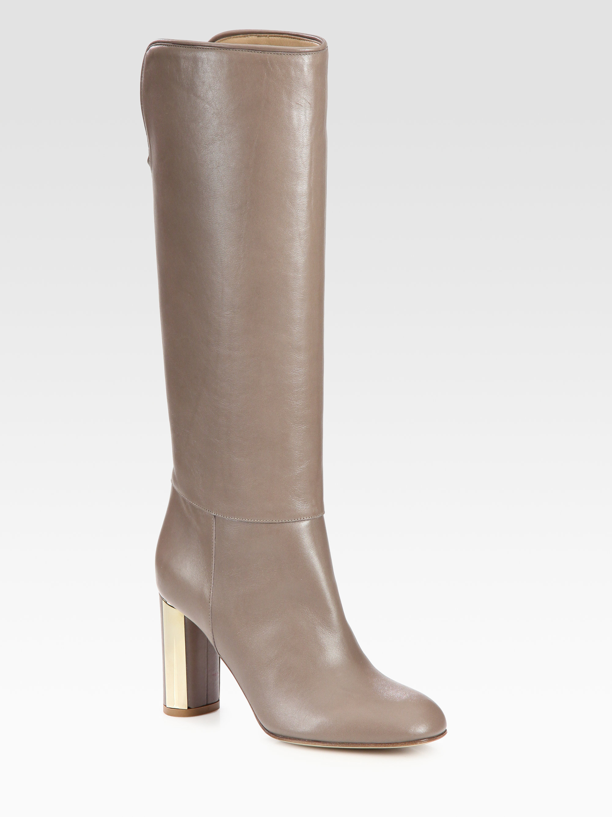 valentino leather kneehigh boots in beige taupe lyst