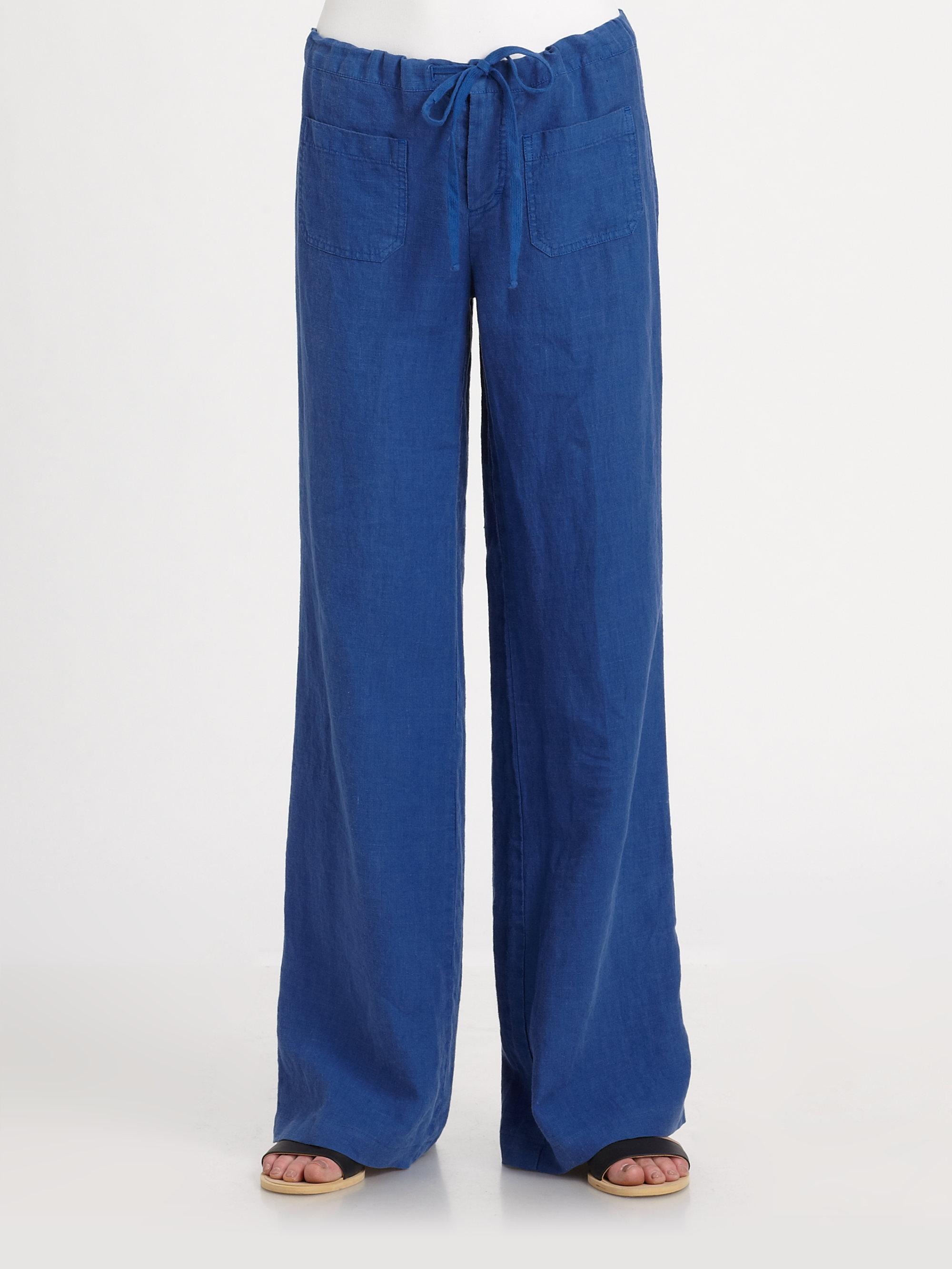 Vince Linen Beach Pants In Blue Lyst