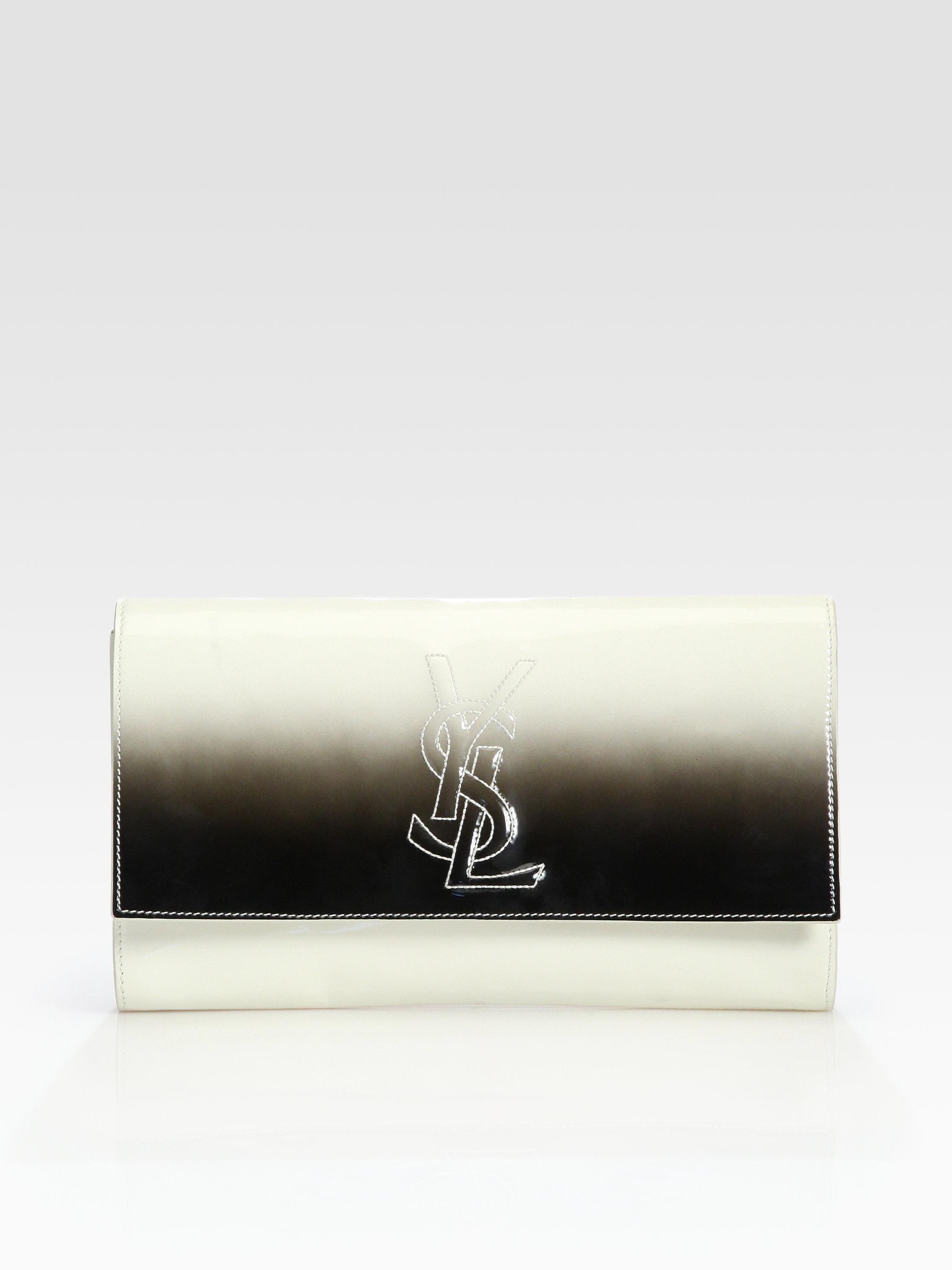 Saint laurent Ysl Large Ombre Patent Leather Clutch in Beige (bone ...