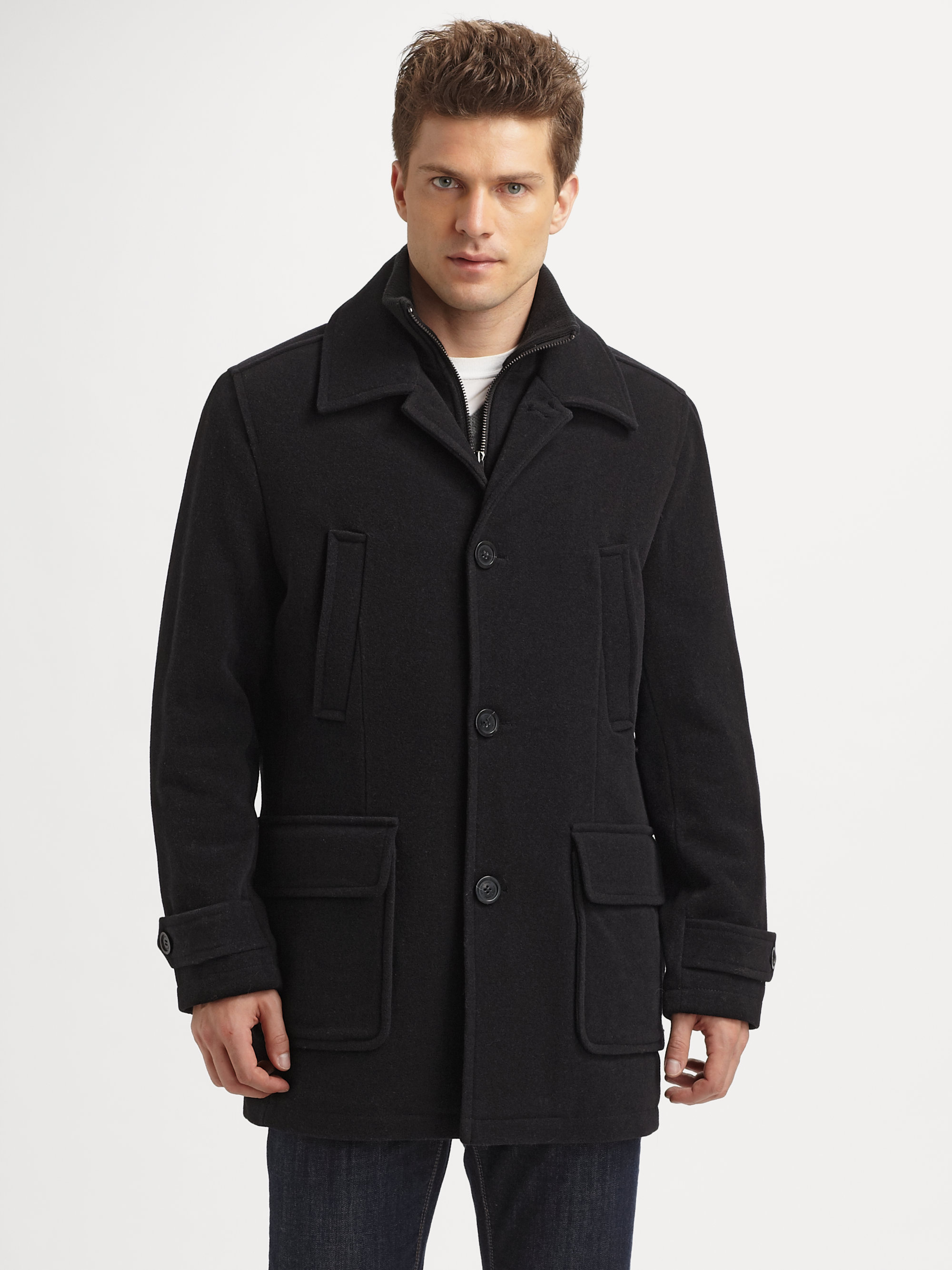 Andrew marc Wool Walking Coat in Black for Men | Lyst