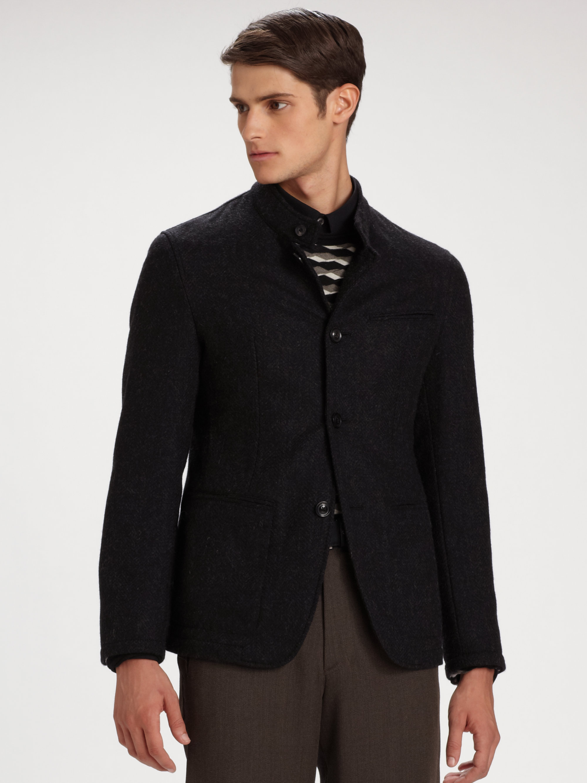 Lyst Armani Nehru Jacket In Gray For Men