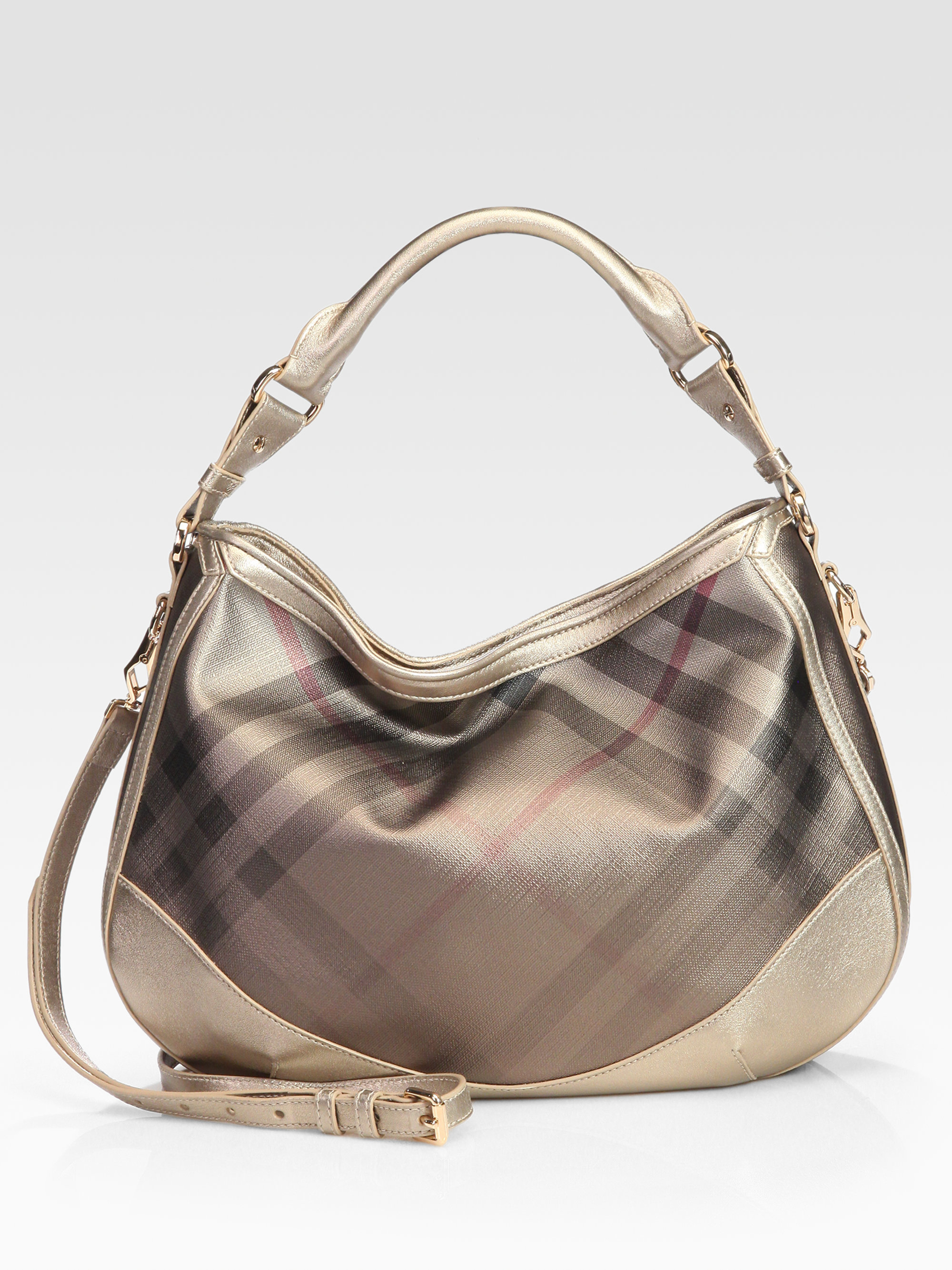 30ead1850d5c Lyst - Burberry Check Canvas and Leather Hobo Bag in Natural