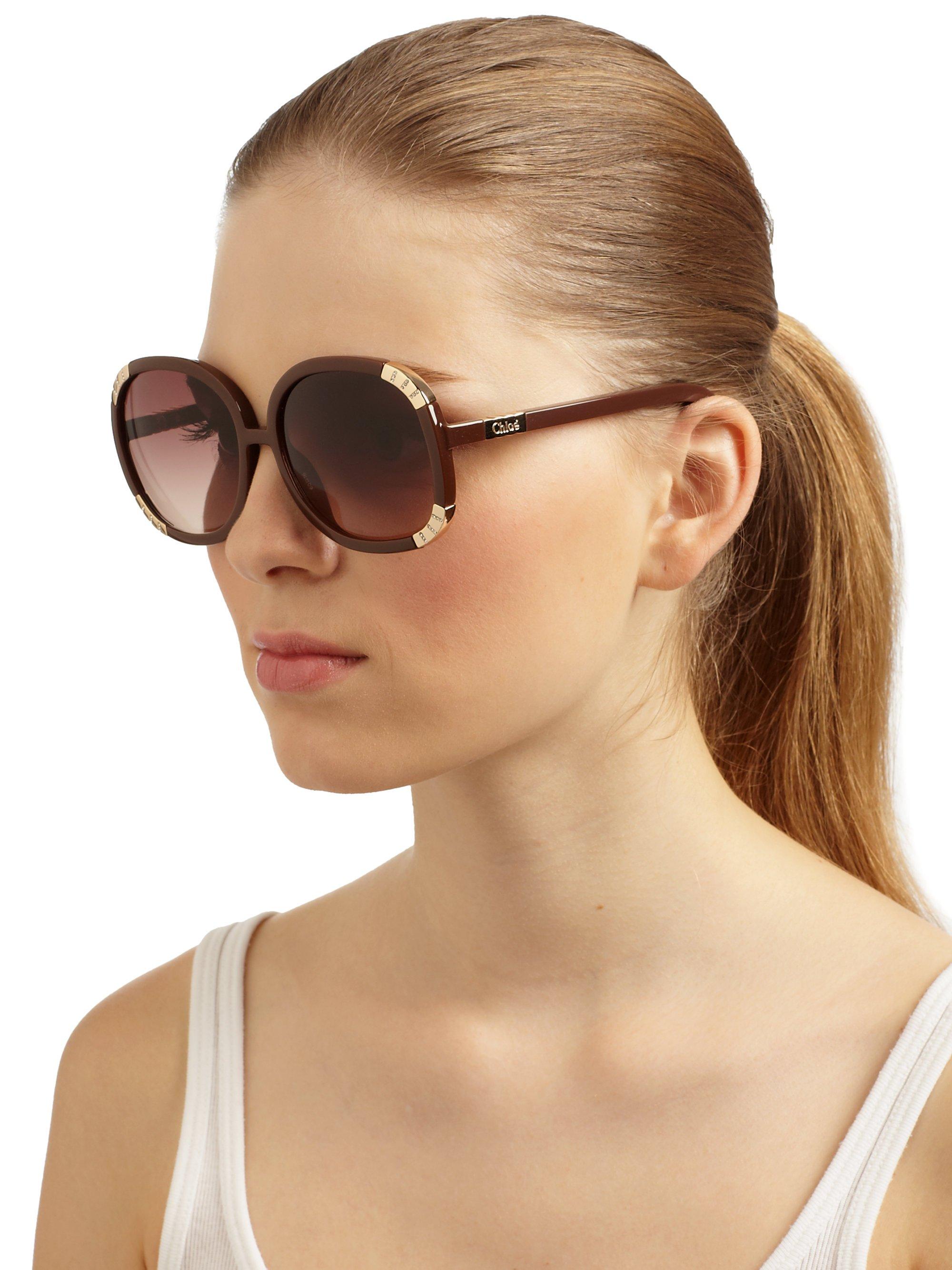 d82d0b7dbd8 Lyst - Chloé Oversized Round Acetate Rhinestone Sunglasses in Brown