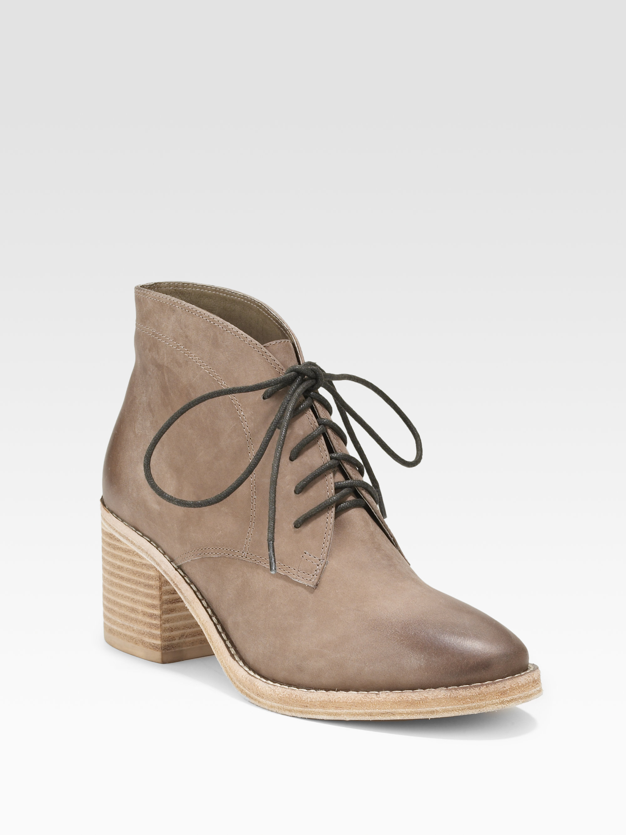 Dolce Vita Asher Laceup Ankle Boots In Gray Taupe Lyst