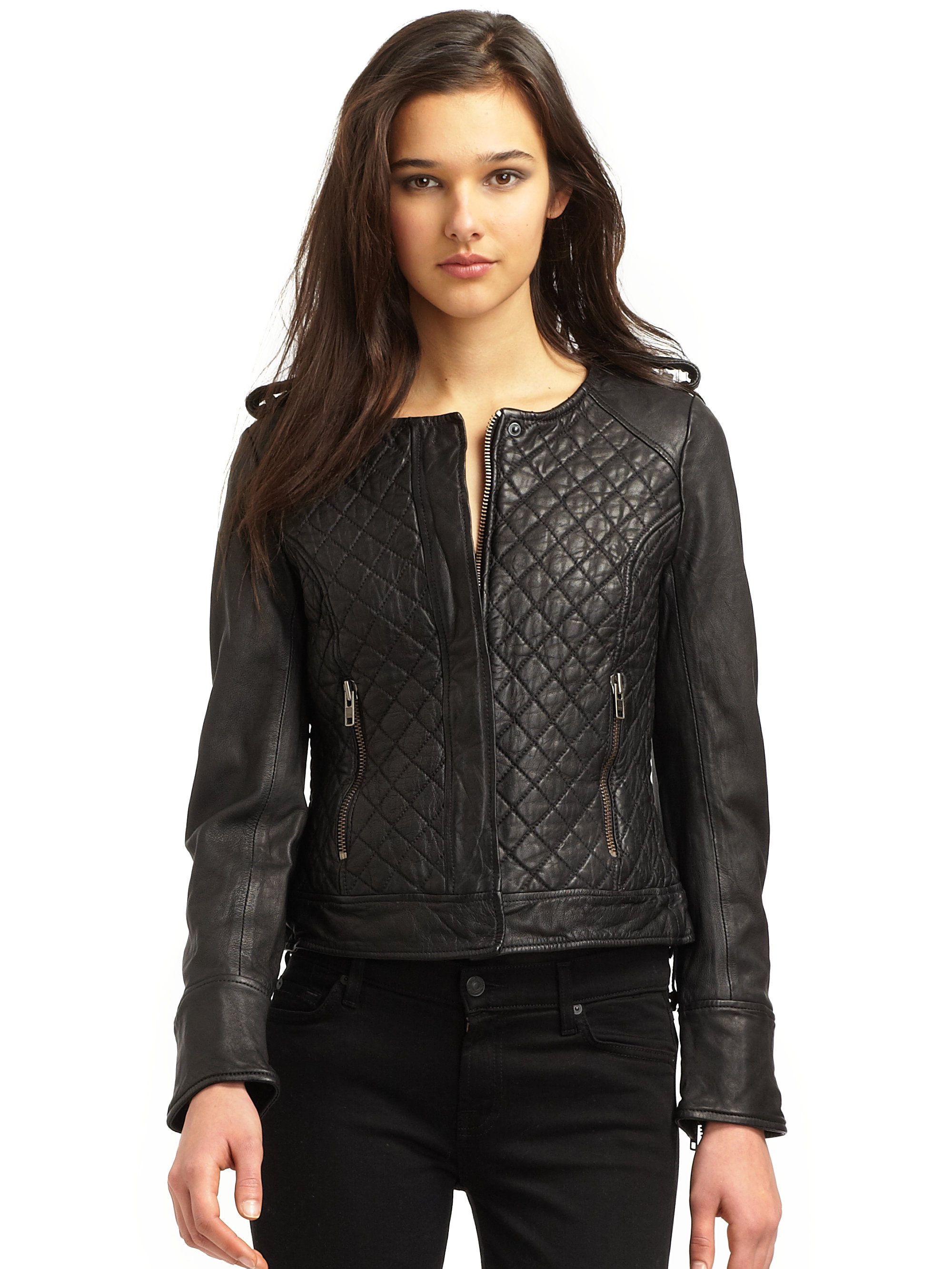 French connection Quilted Leather Jacket in Black | Lyst