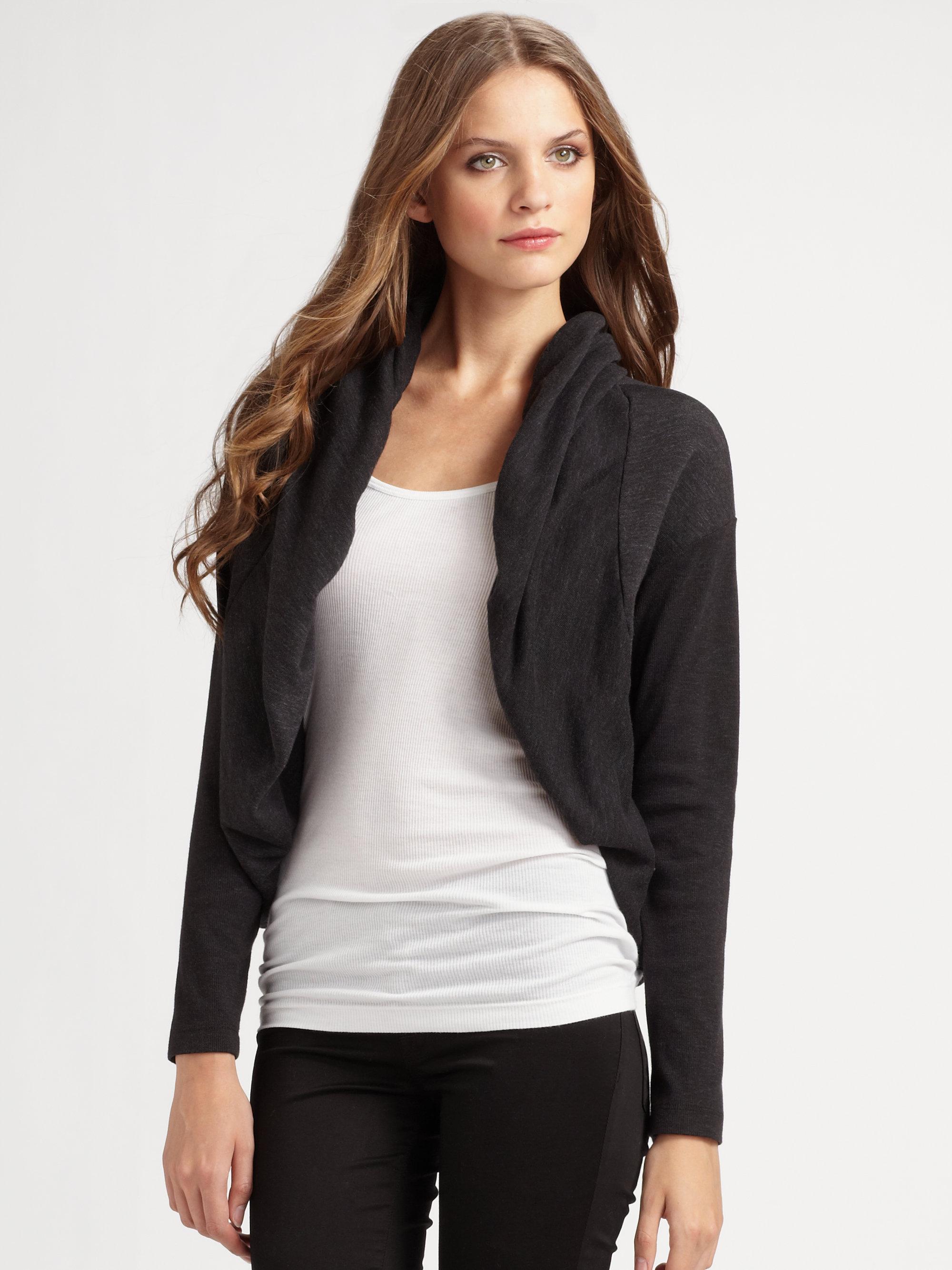 james perse bolero jacket in black lyst. Black Bedroom Furniture Sets. Home Design Ideas