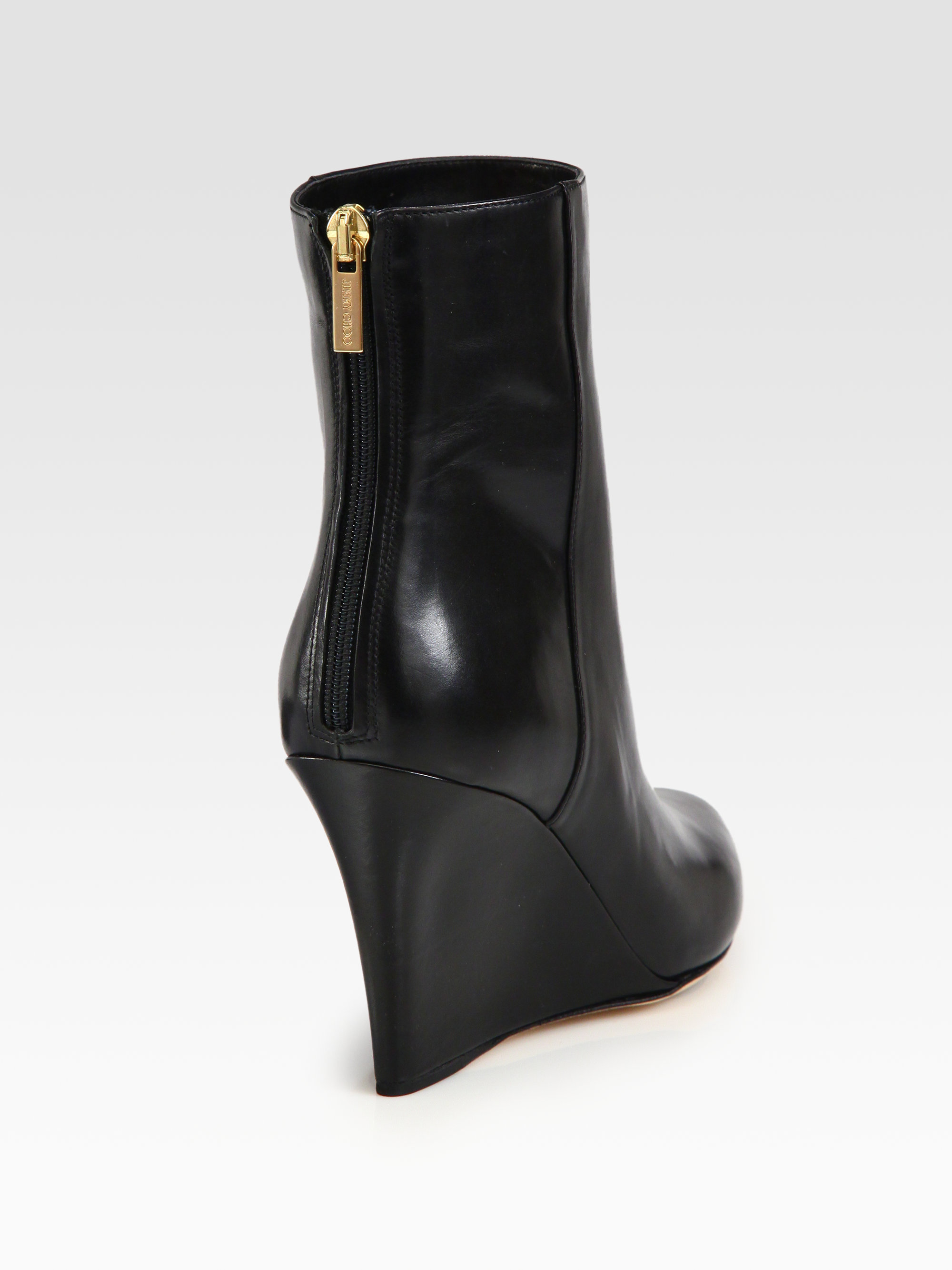 cef37d39d6e Lyst - Jimmy Choo Mayor Leather Wedge Ankle Boots in Black