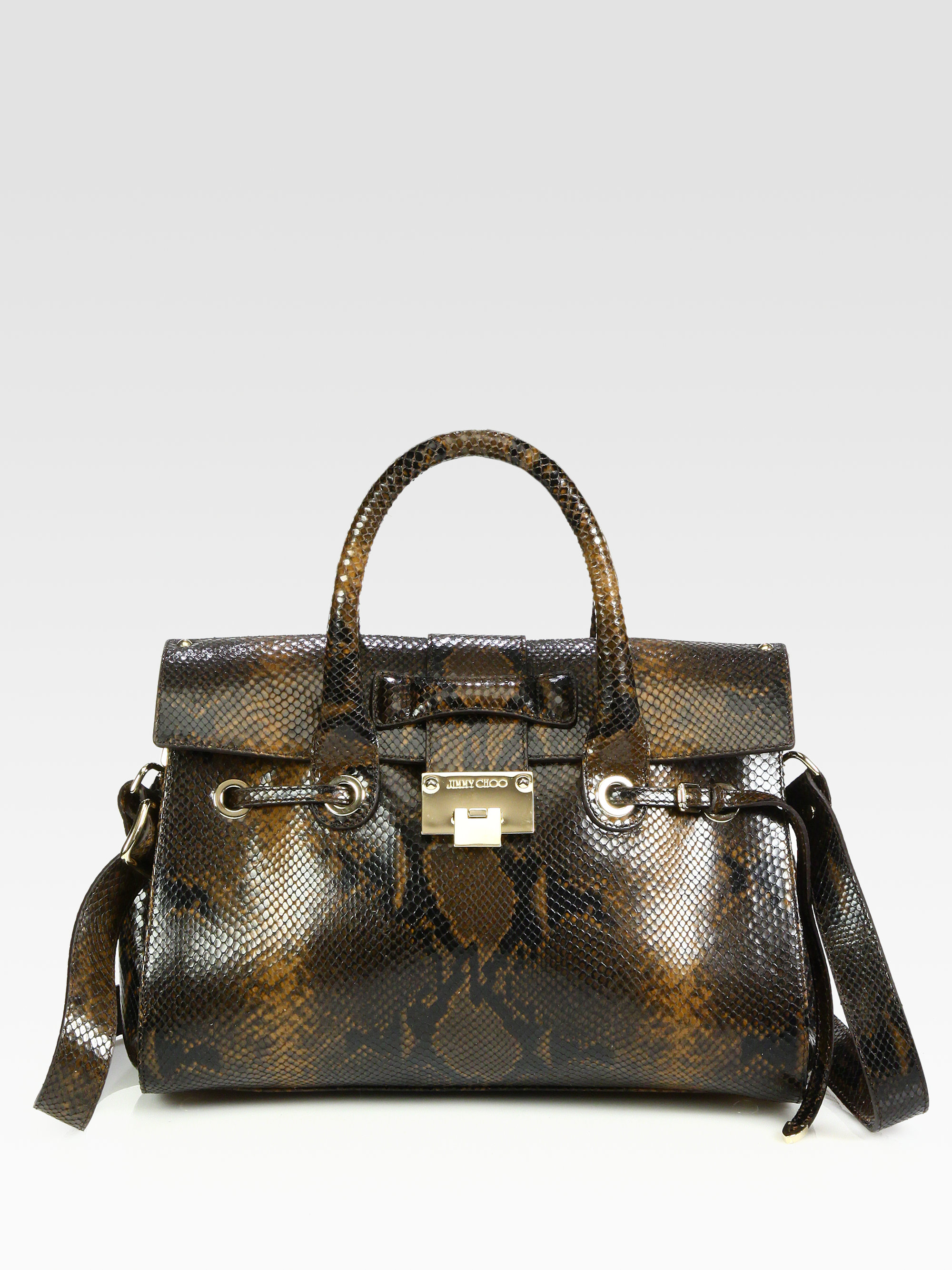 e3e38f02cc74 Lyst - Jimmy Choo Rosalie Snake Embossed Leather Satchel in Brown