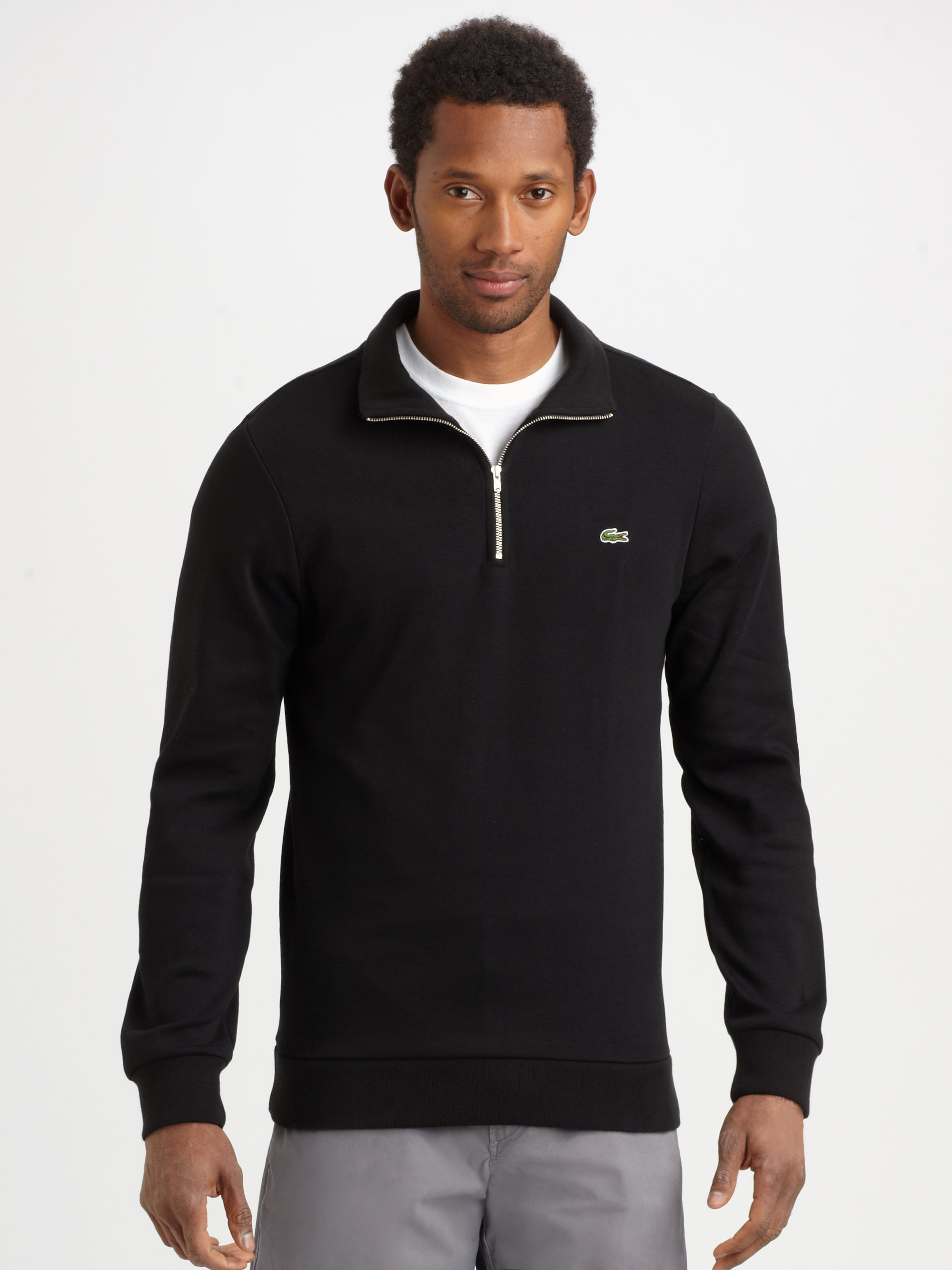 lacoste halfzip pullover in black for men lyst. Black Bedroom Furniture Sets. Home Design Ideas