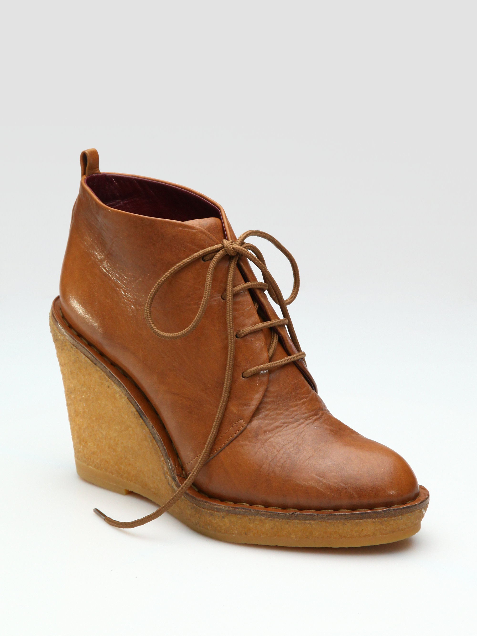 marc by marc jacobs wax wedge ankle boots in brown cognac. Black Bedroom Furniture Sets. Home Design Ideas