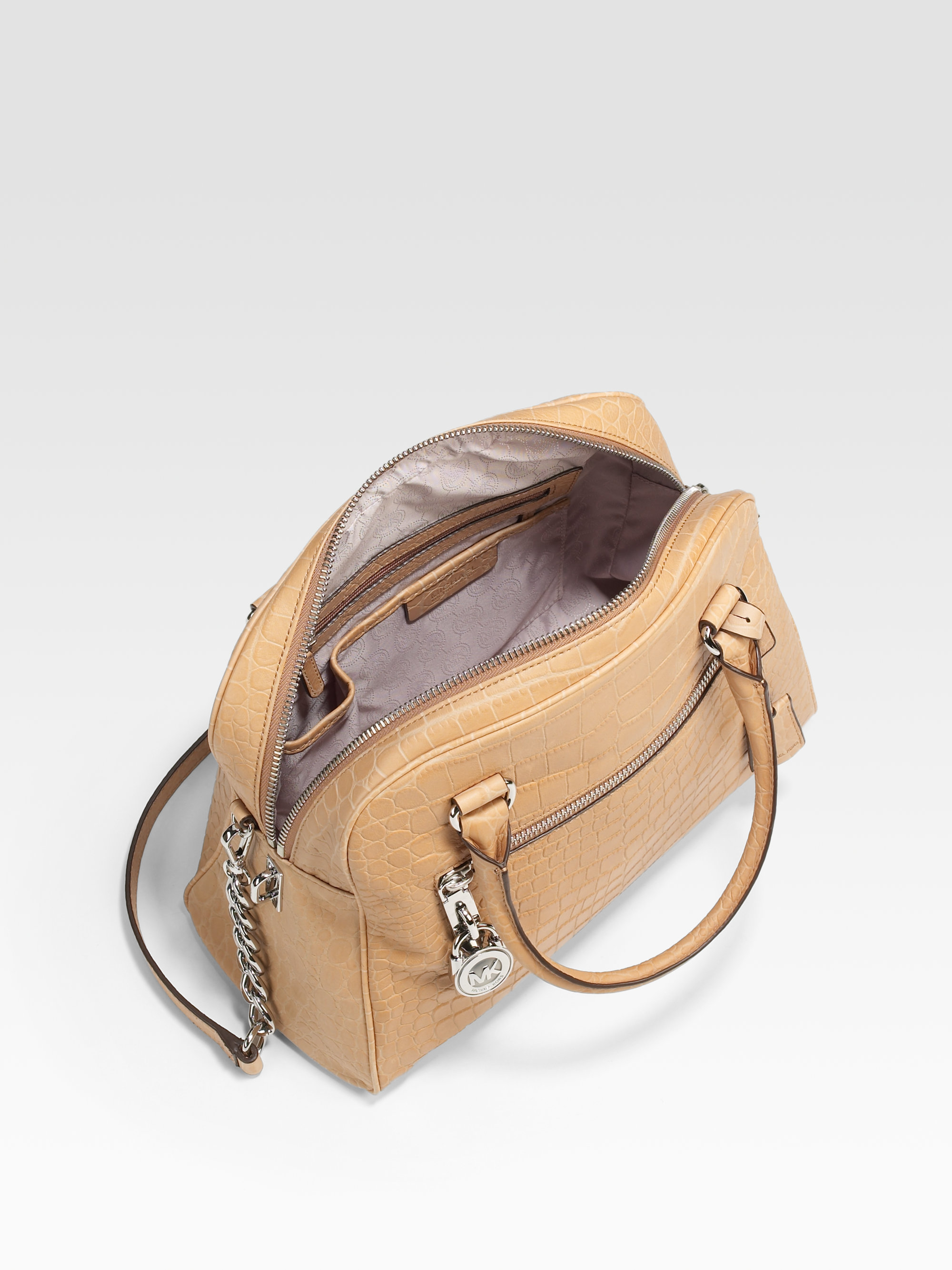 b06a6fd82b3e21 ... shop lyst michael michael kors large leather knox satchel in natural  f76e5 8daef