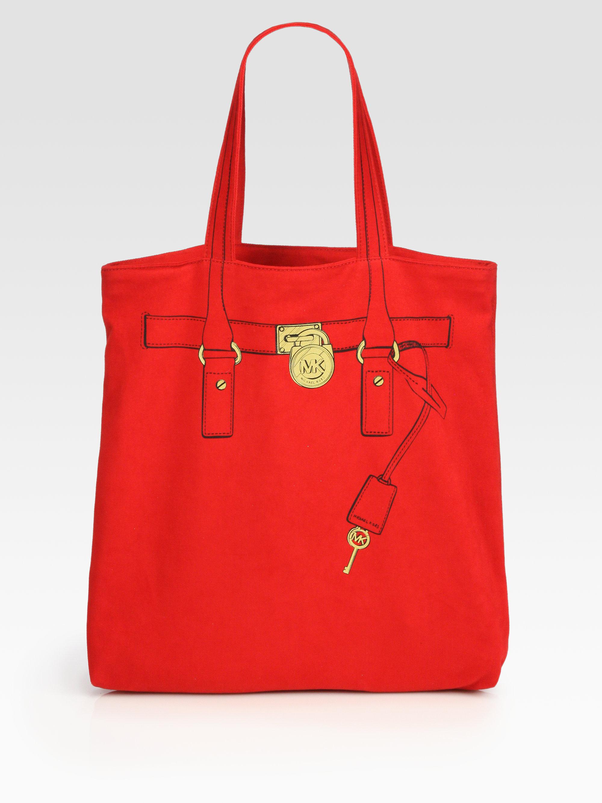 54c89d091d5d8d MICHAEL Michael Kors Hamilton Trompe Loeil Canvas Tote Bag in Red - Lyst