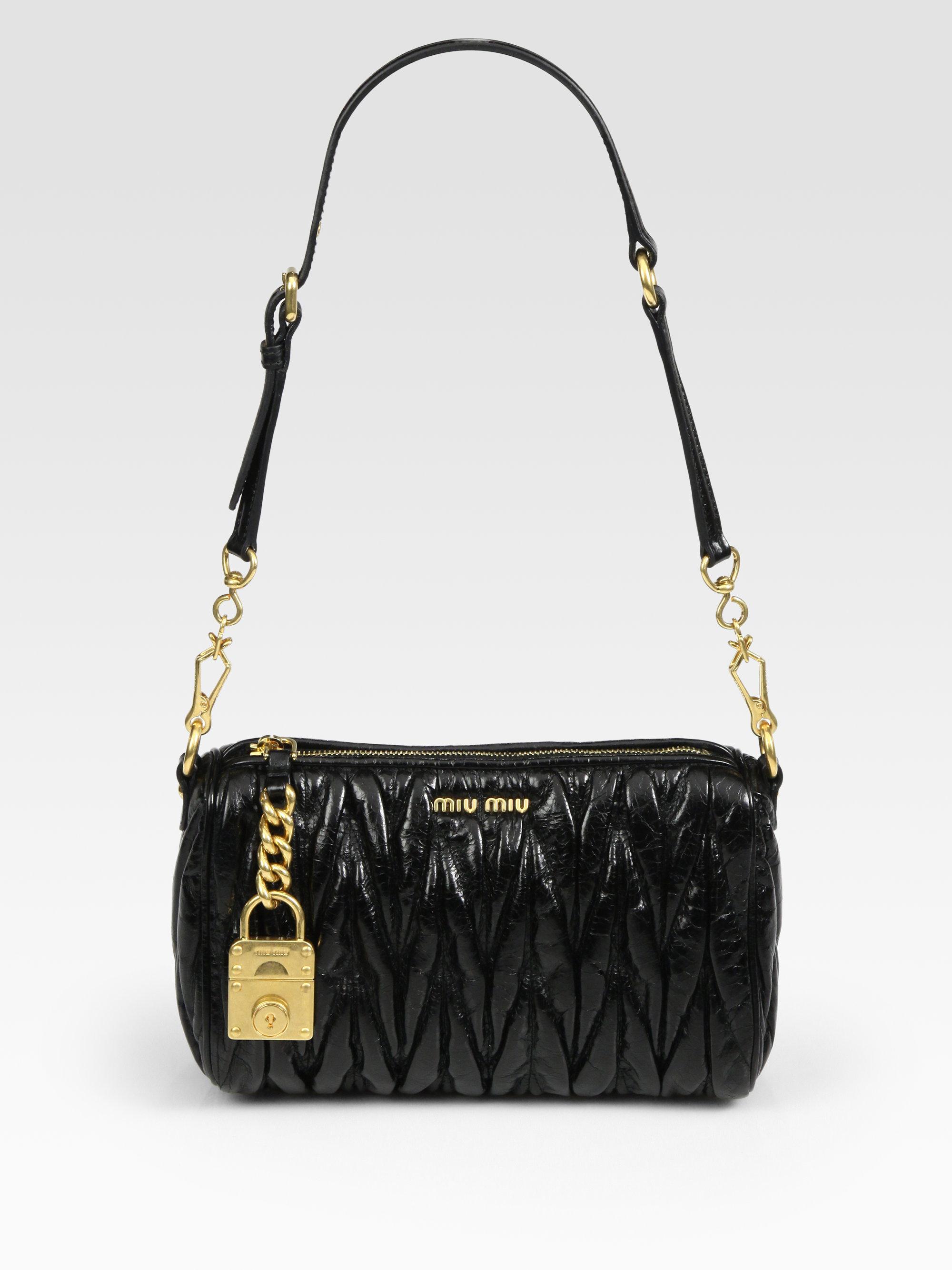 cd3764cffb4 Lyst - Miu Miu Matelasse Lux Shoulder Bag in Black