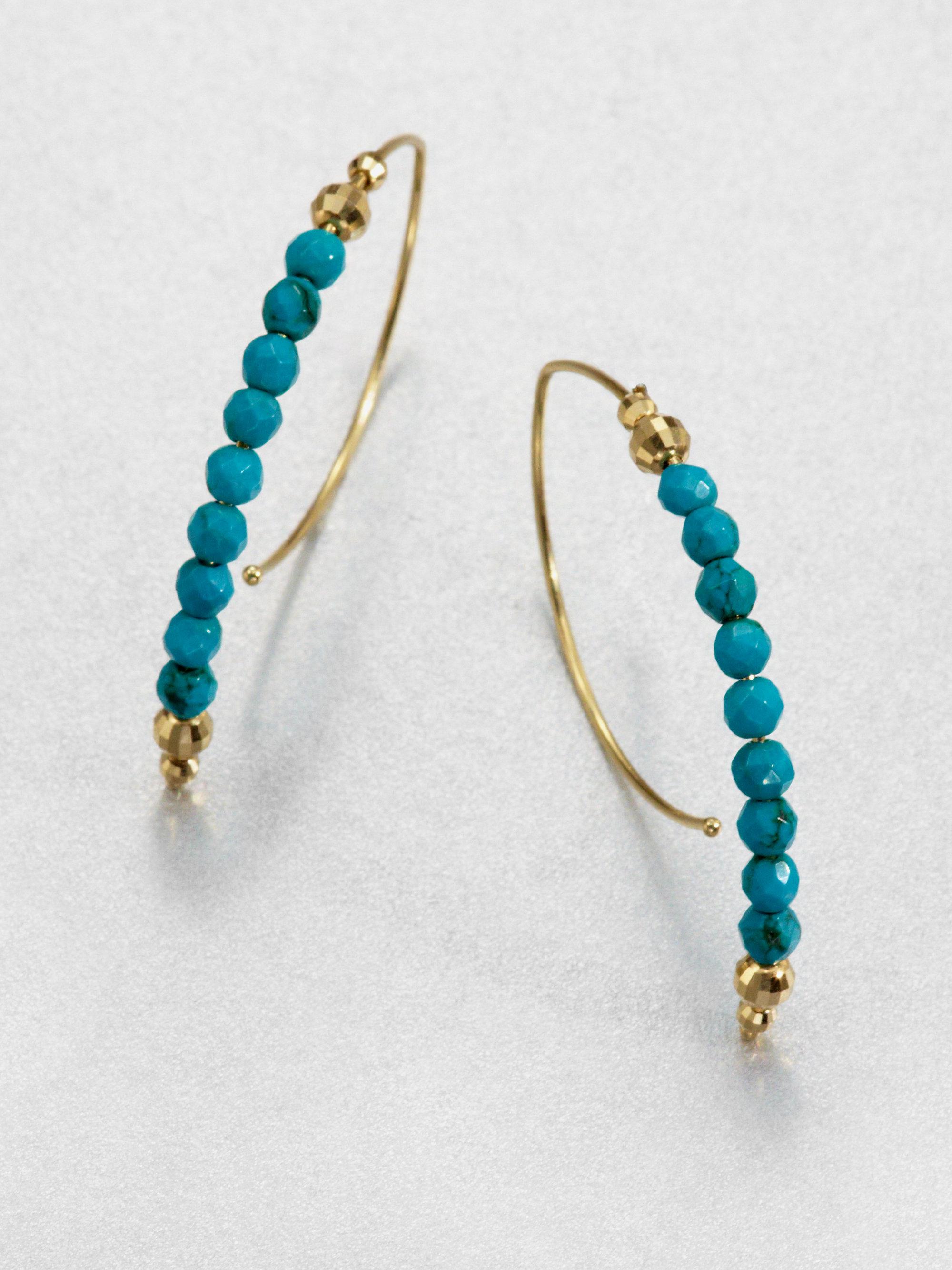 mizuki 14k gold turquoise half hoop earrings in blue lyst. Black Bedroom Furniture Sets. Home Design Ideas