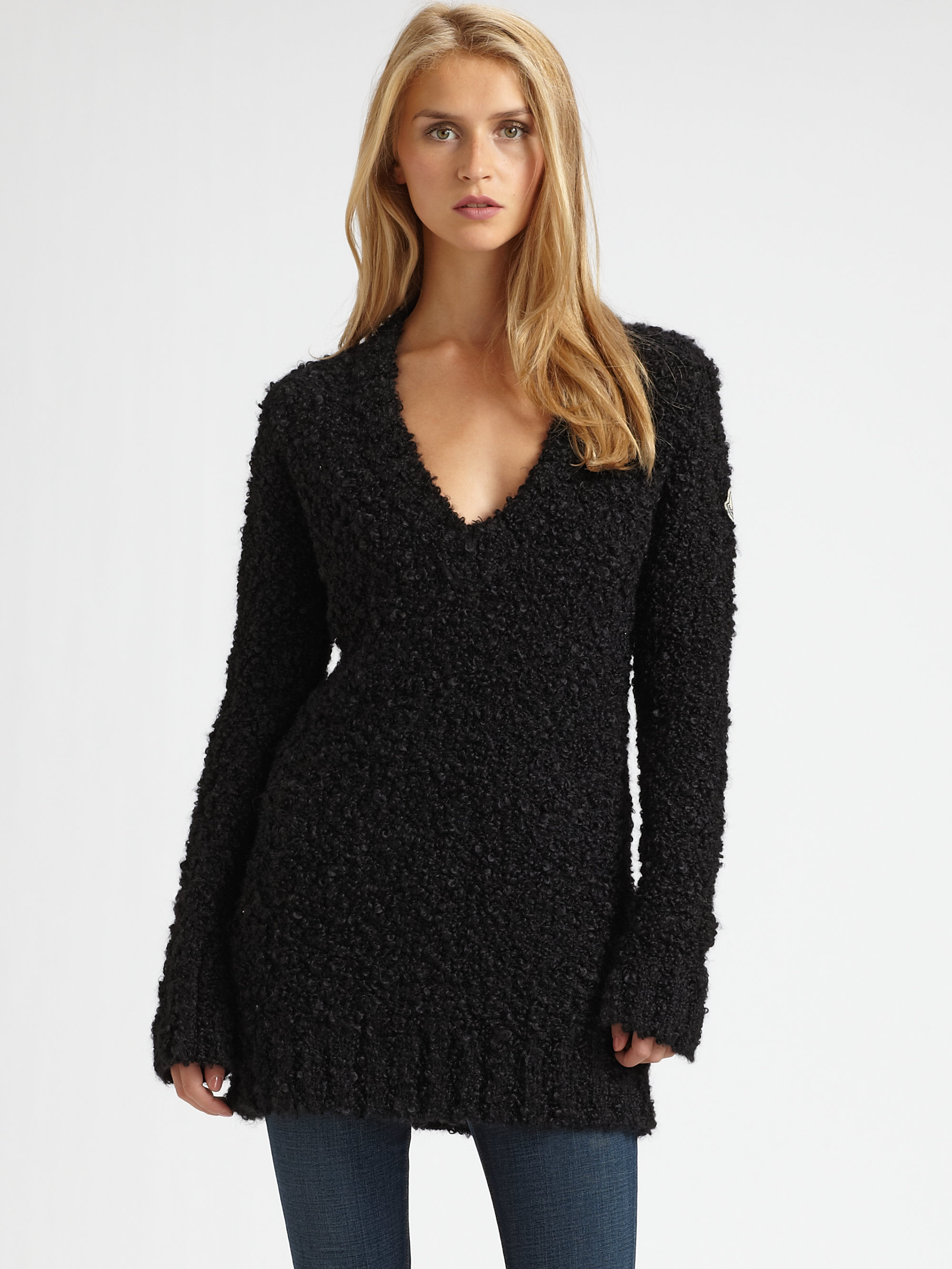 Moncler Wool Boucl 233 Sweater Tunic In Black Lyst