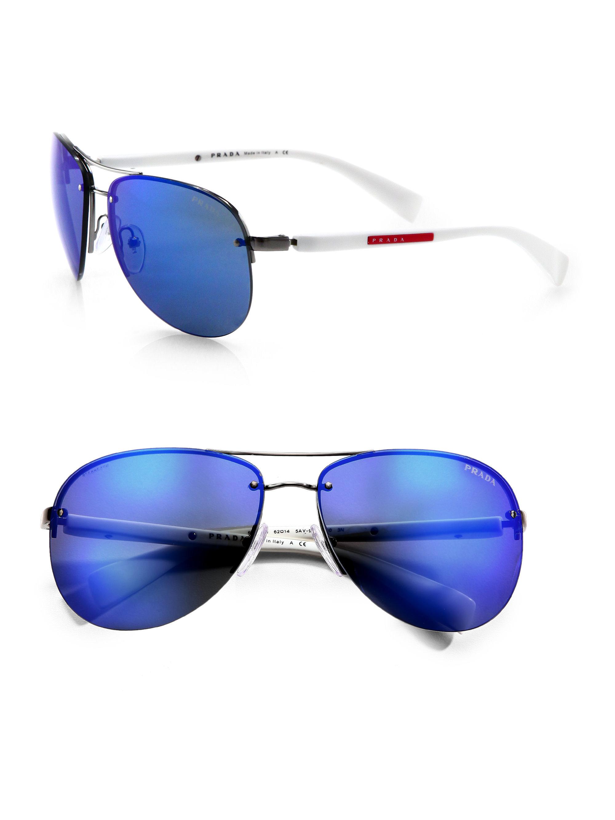 c5fb0e8740bd ... spain lyst prada metal aviator sunglasses in blue for men 0ba5c 9853d