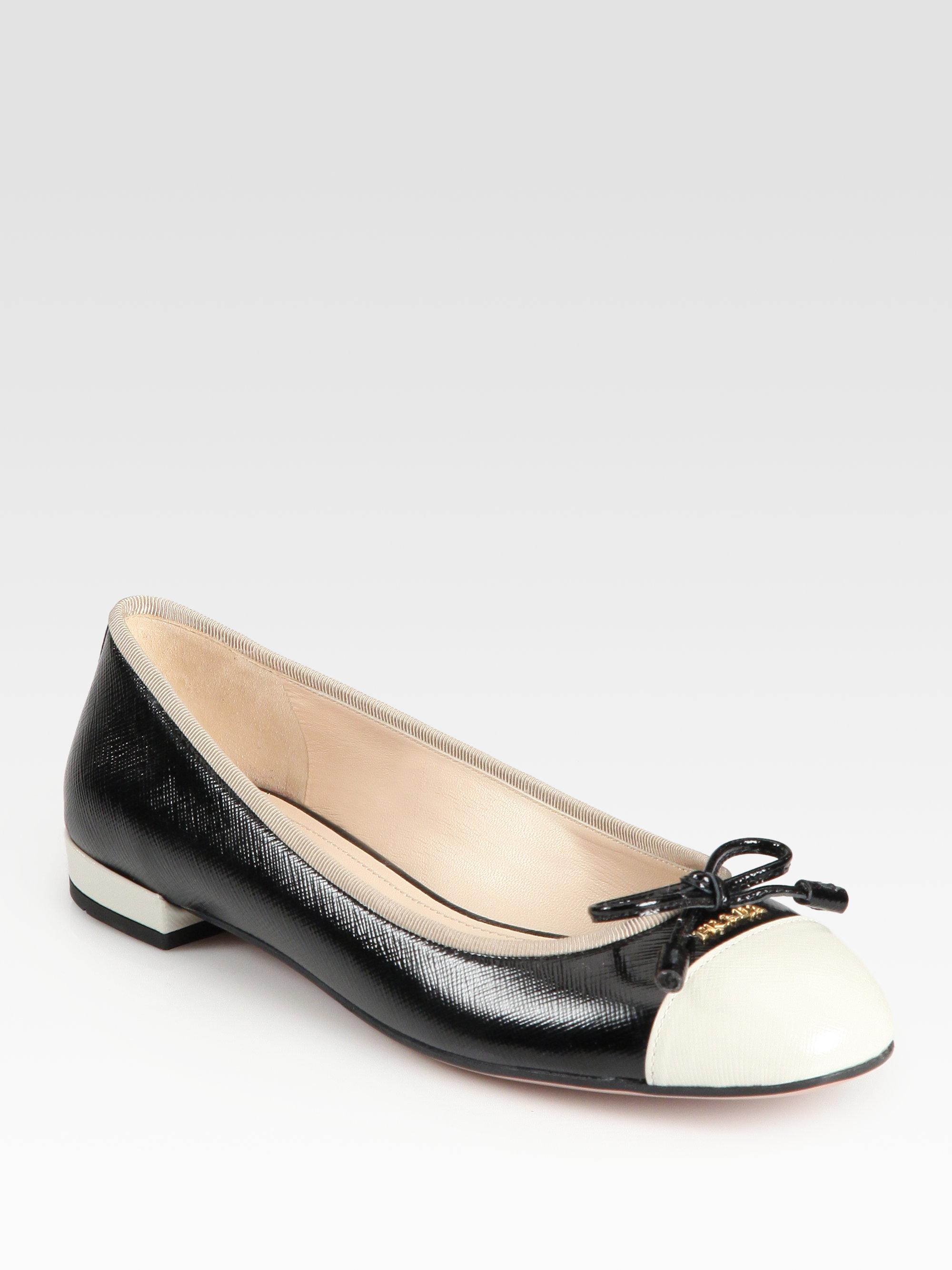 Prada Grey Leather Ballet Flats