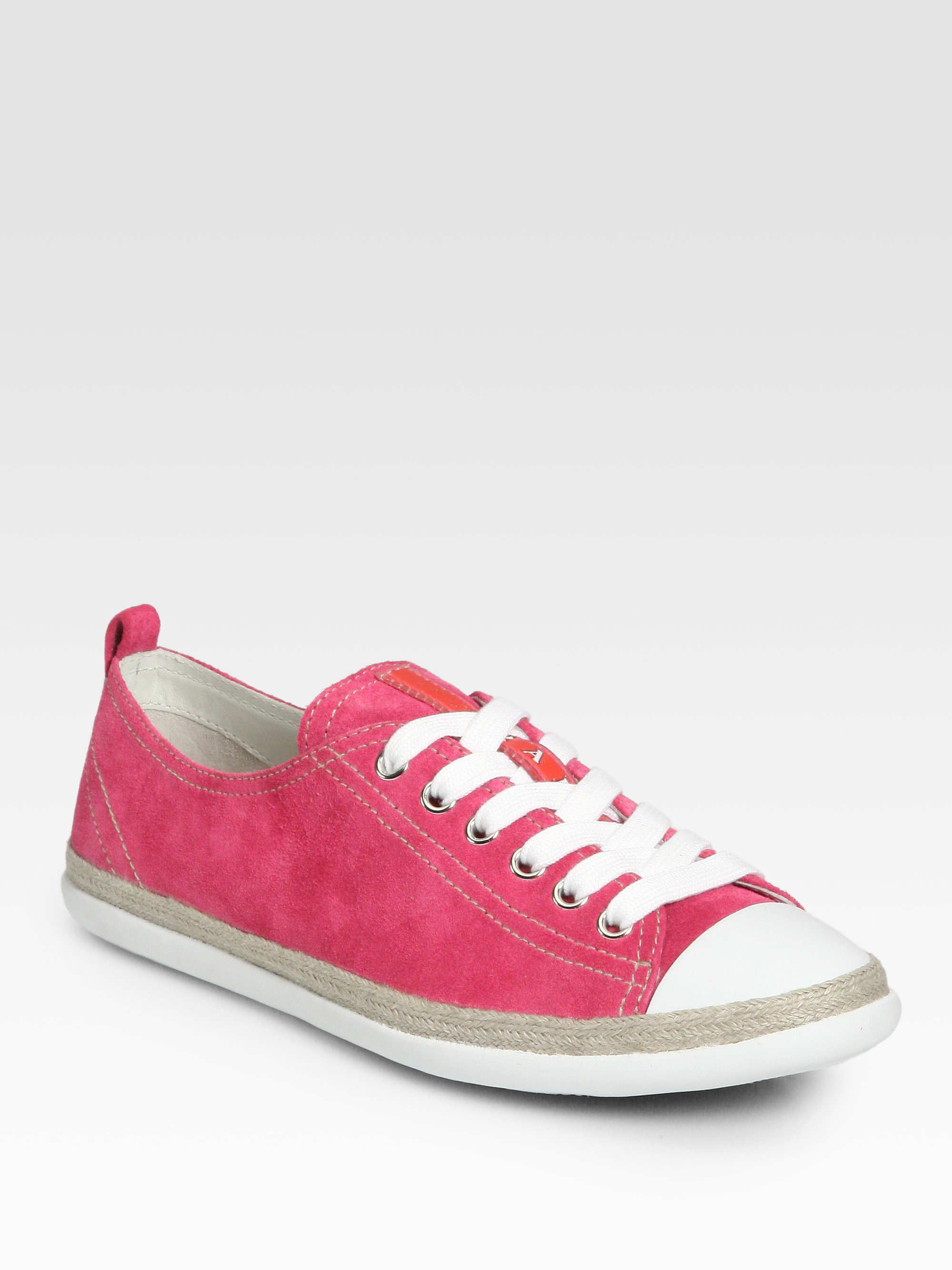 prada suede laceup sneakers in pink peonia pink lyst