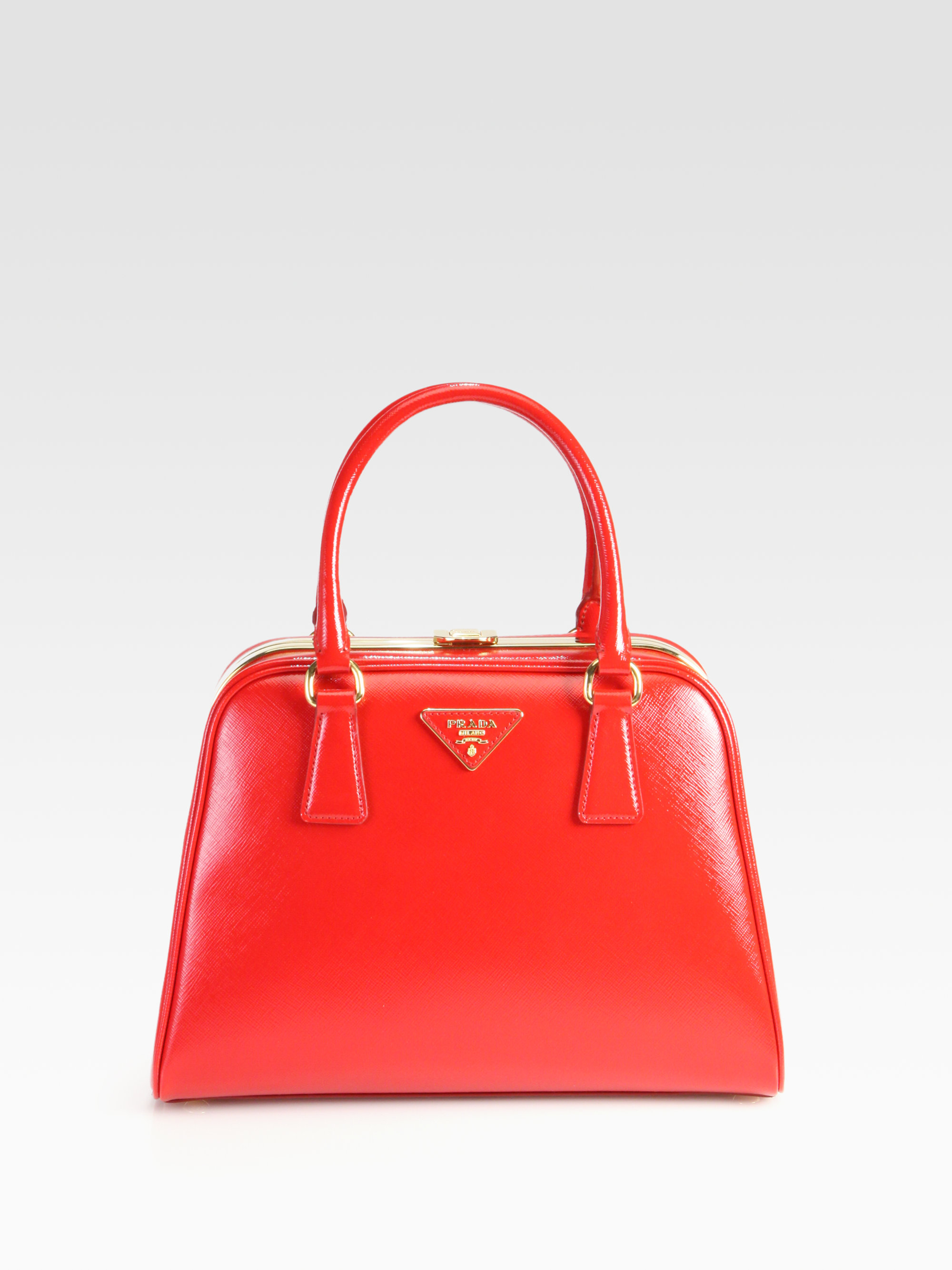 Lyst - Prada Saffiano Vernice Frame Pyramid Top Handle Bag in Red