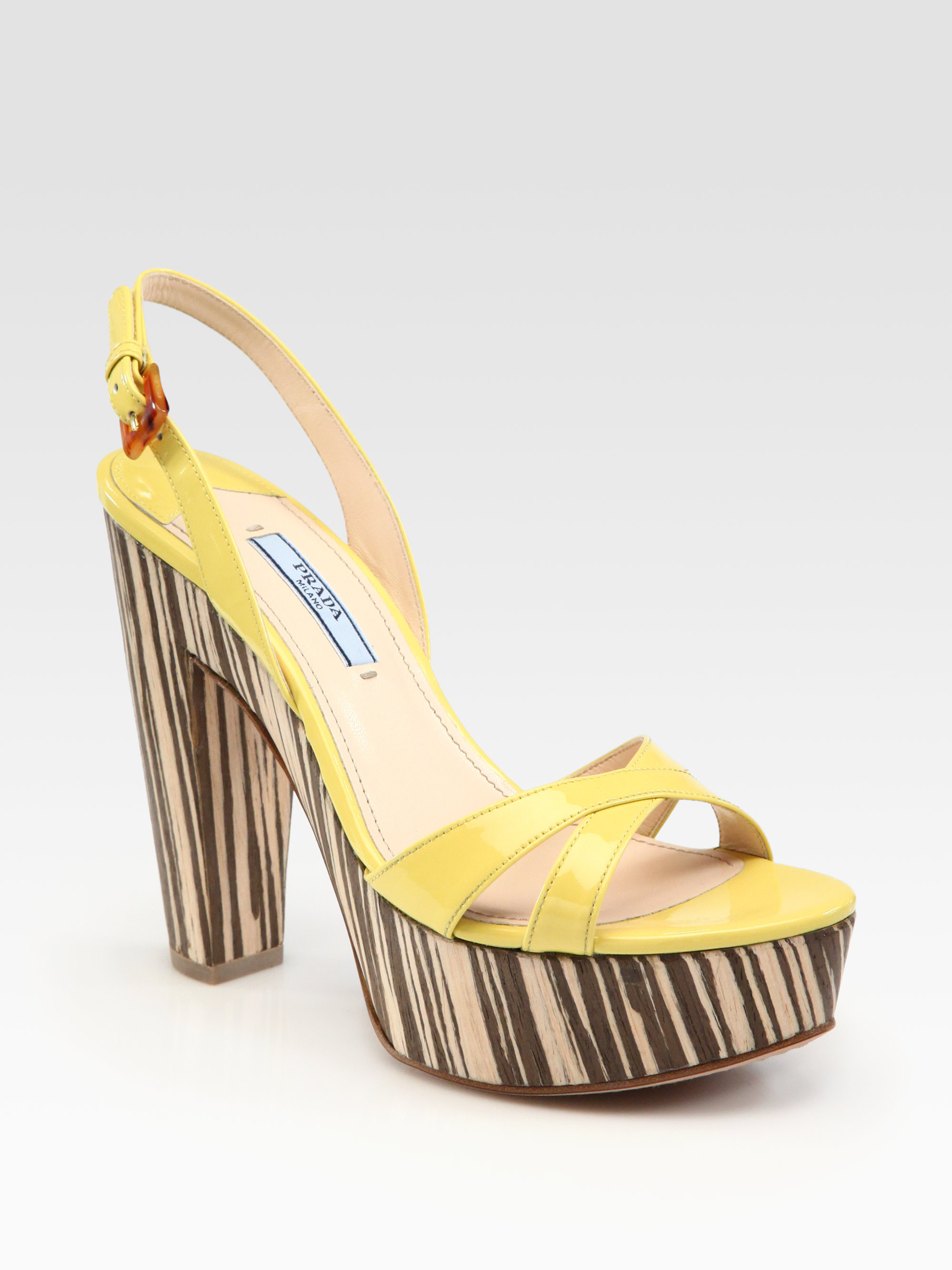 566530a9ee6 Lyst - Prada Patent Leather and Wood Slingback Sandals in Yellow