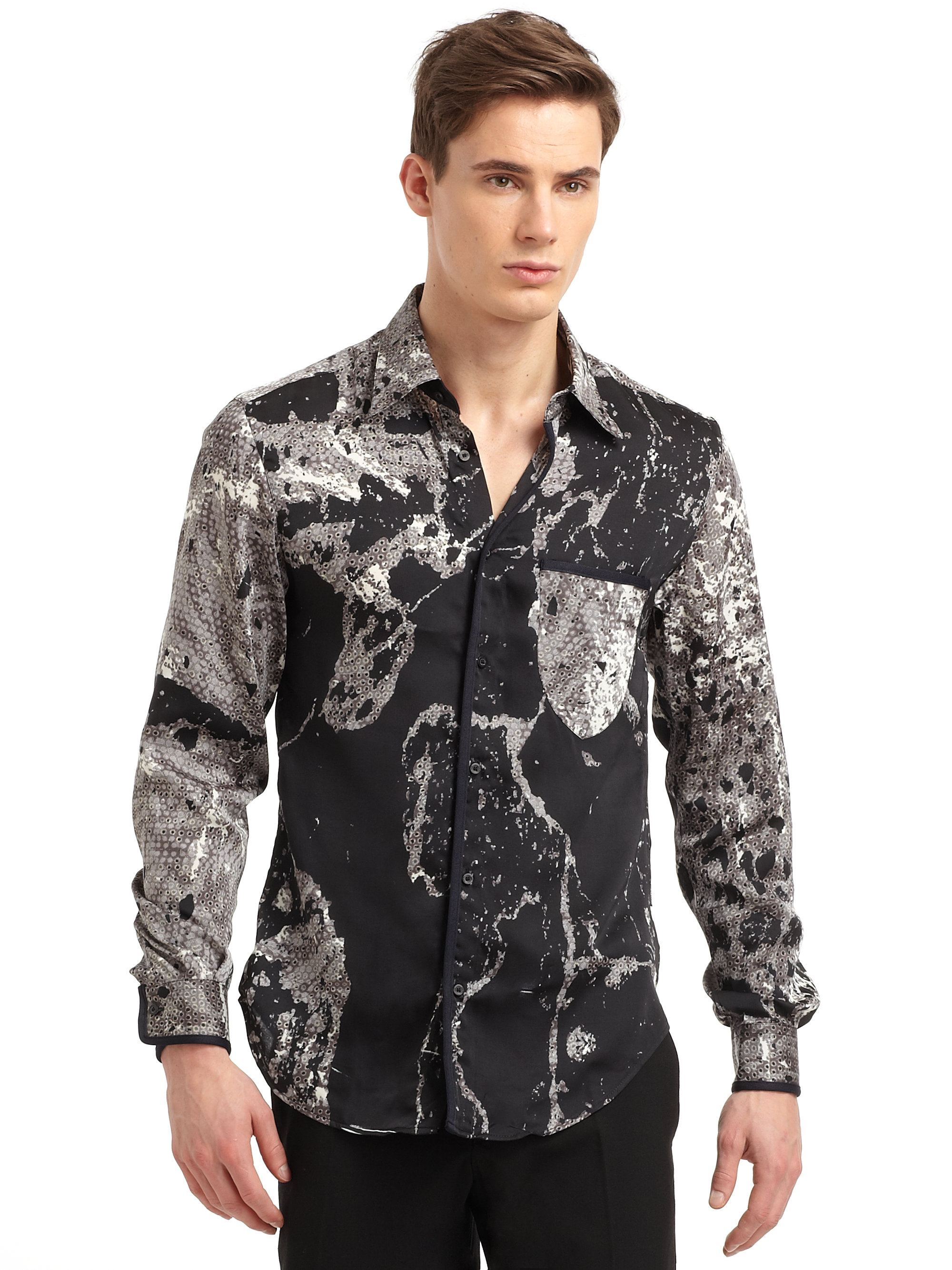 896a61a1 Roberto Cavalli Snake Print Sport Shirt in Black for Men - Lyst