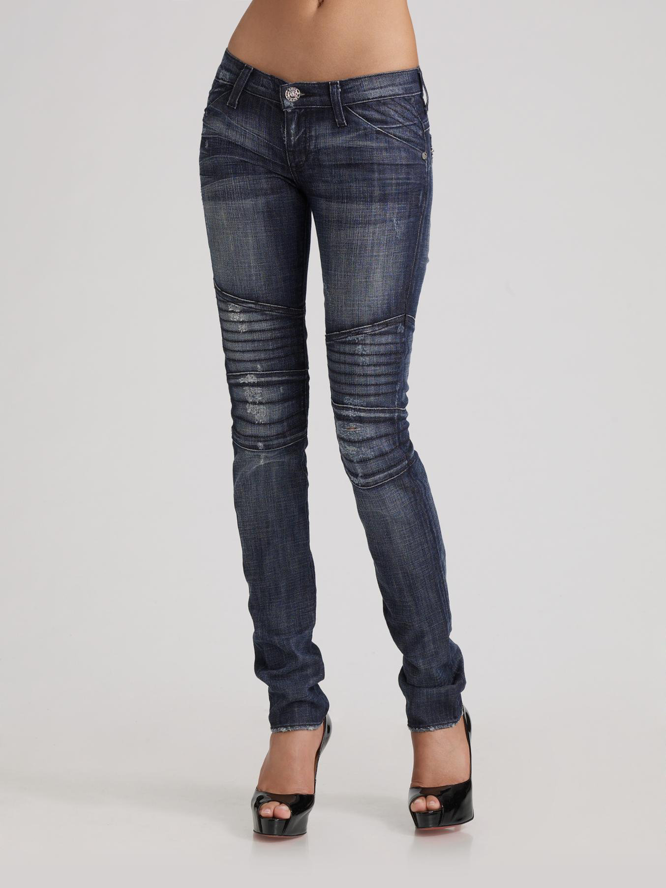 rock republic harlan moto skinny jeans in blue lyst. Black Bedroom Furniture Sets. Home Design Ideas