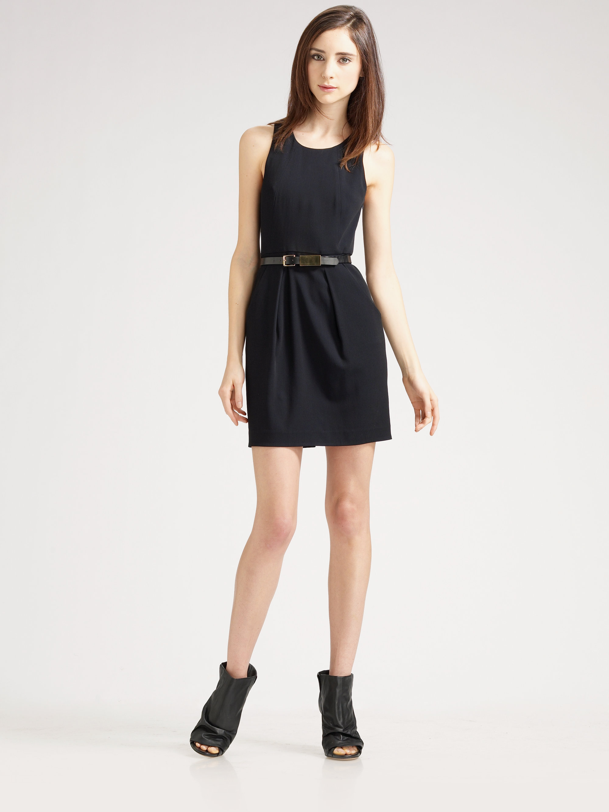 theory kabee belted dress in black lyst