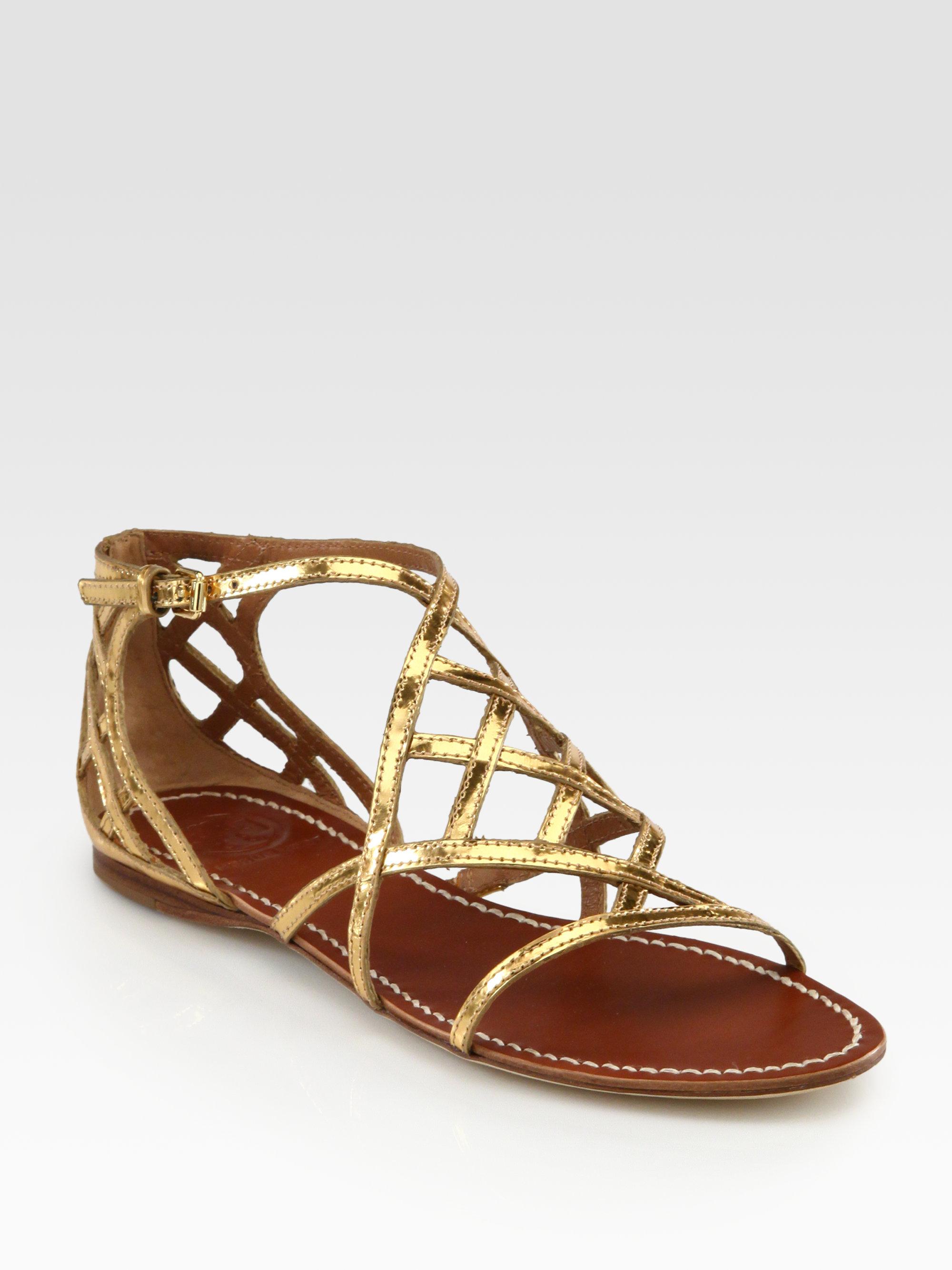 Tory burch Amalie Metallic Leather Sandals in Metallic