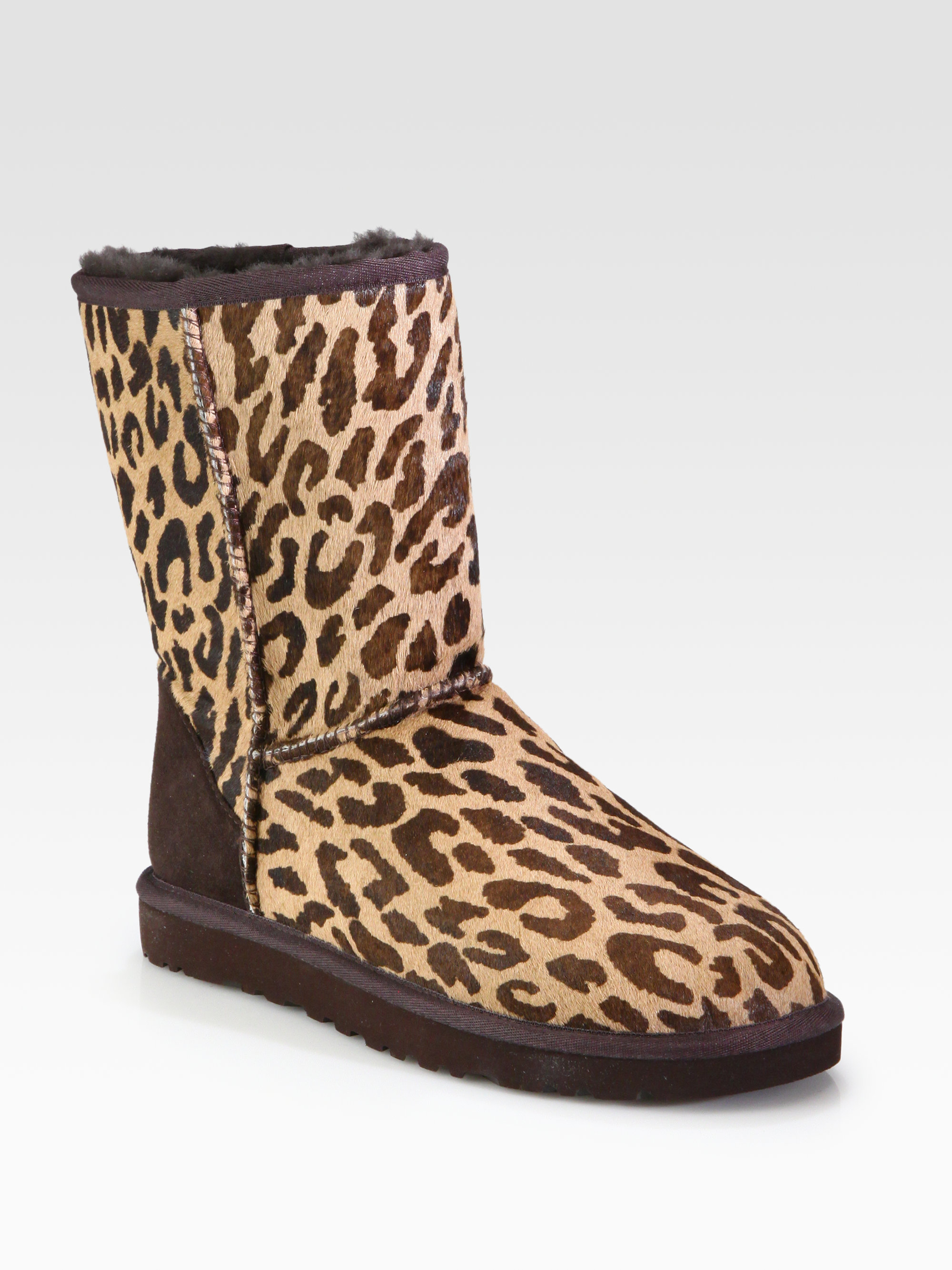 Ugg Classic Short Leopardprint Calf Hair Boots In Brown Lyst