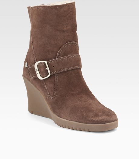 ugg gissella suede wedge ankle boots in brown espresso