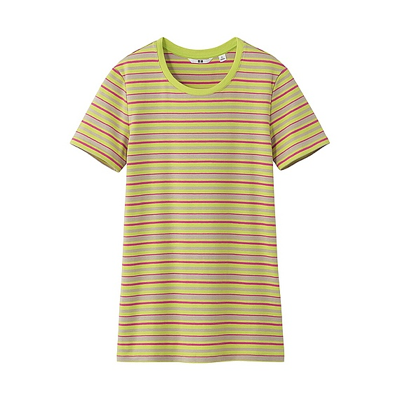 Uniqlo Premium Cotton Striped Crew Neck Short Sleeve T