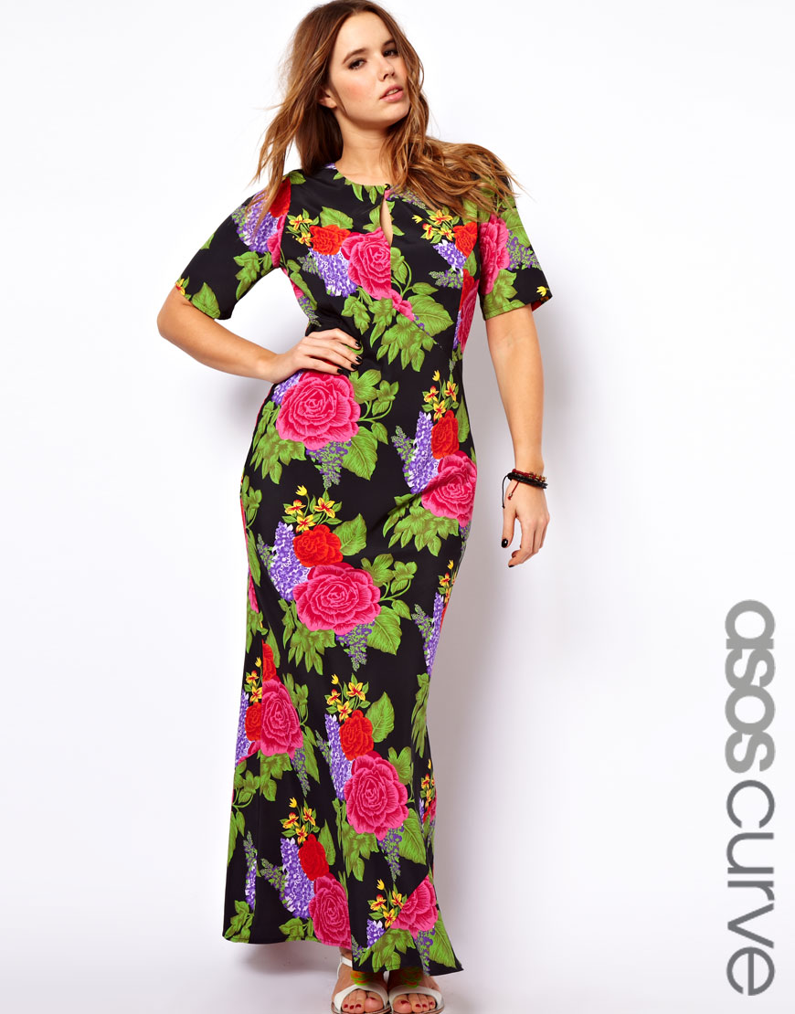 Asos Maxi Dress with Tie Back in Floral Print | Lyst