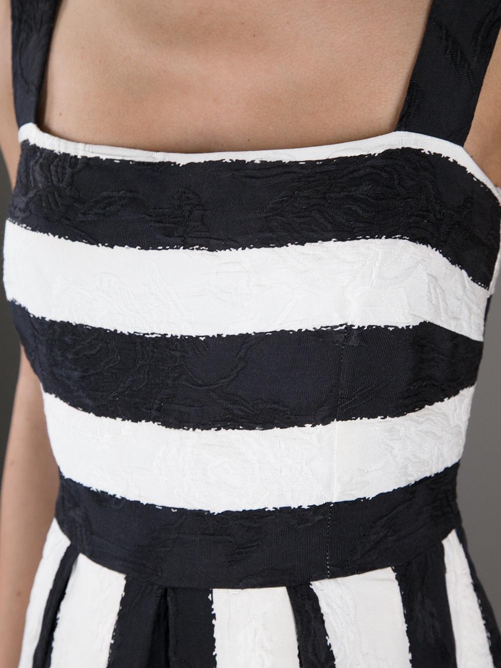 Dolce Amp Gabbana Striped Dress In Black White Lyst