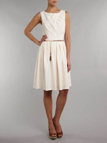 Ellen Tracy 50s Style Dress With Studded Belt In White