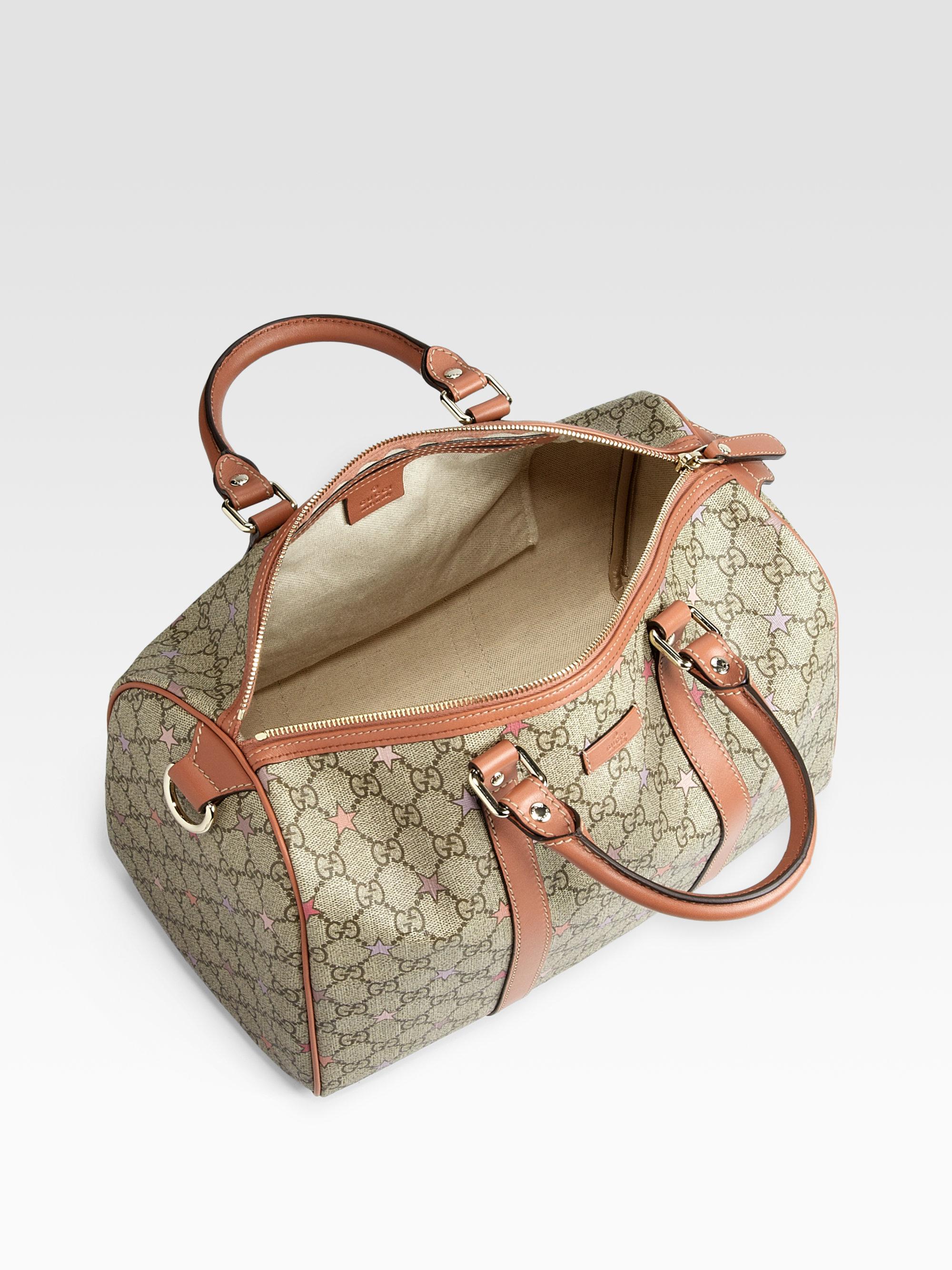 bf48a4762b98cf Gucci Joy Gg Supreme Stars Canvas Boston Bag in Natural - Lyst