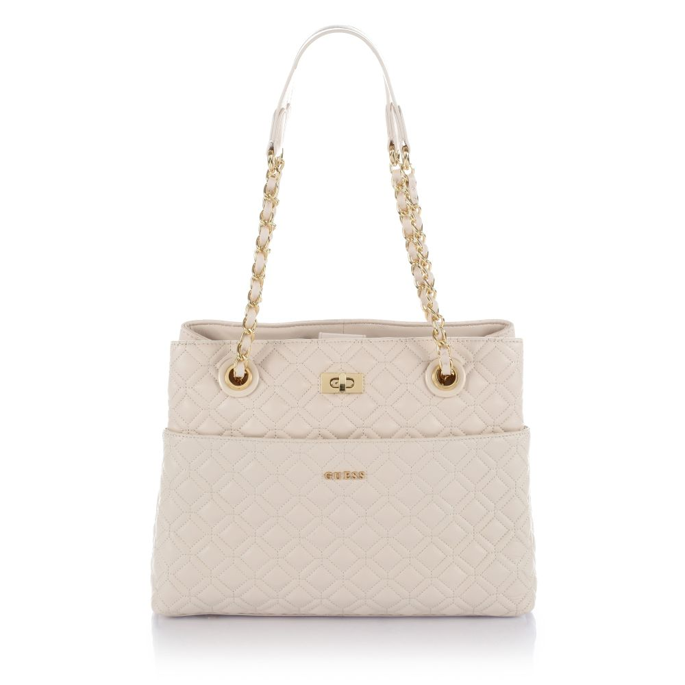 Guess Quilted Leather Tote Bag In Beige Stone Lyst