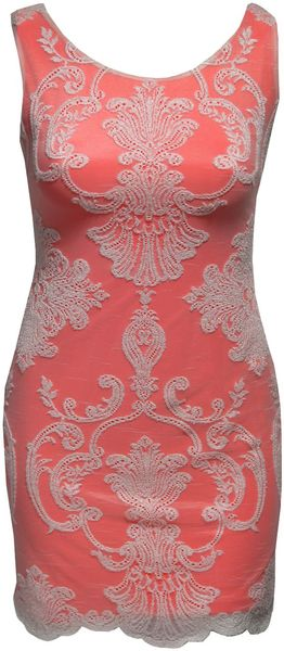 Jane Norman Neon Lined Lace Dress - Lyst