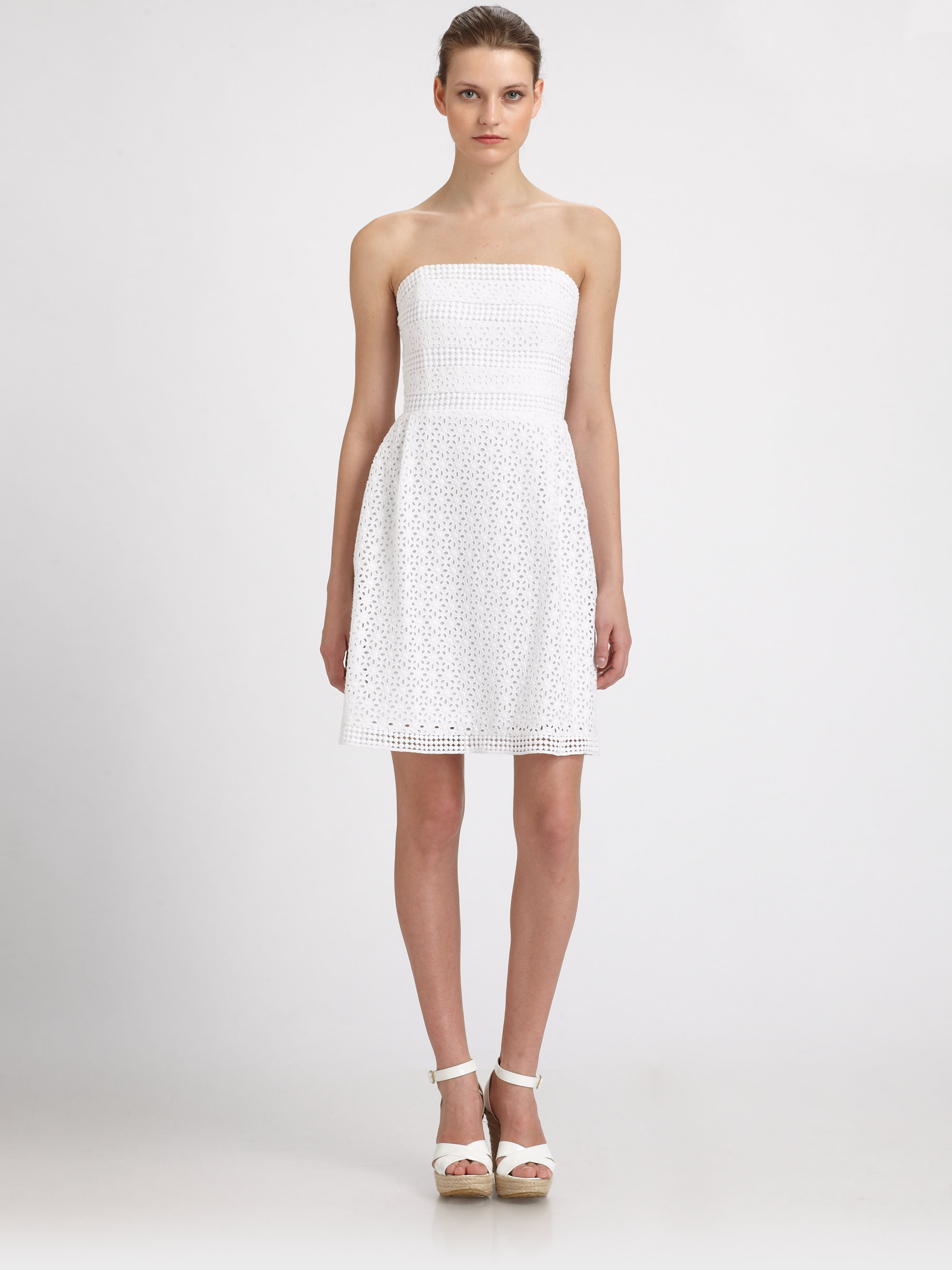 Laundry by shelli segal Strapless Cotton Eyelet Dress in White | Lyst