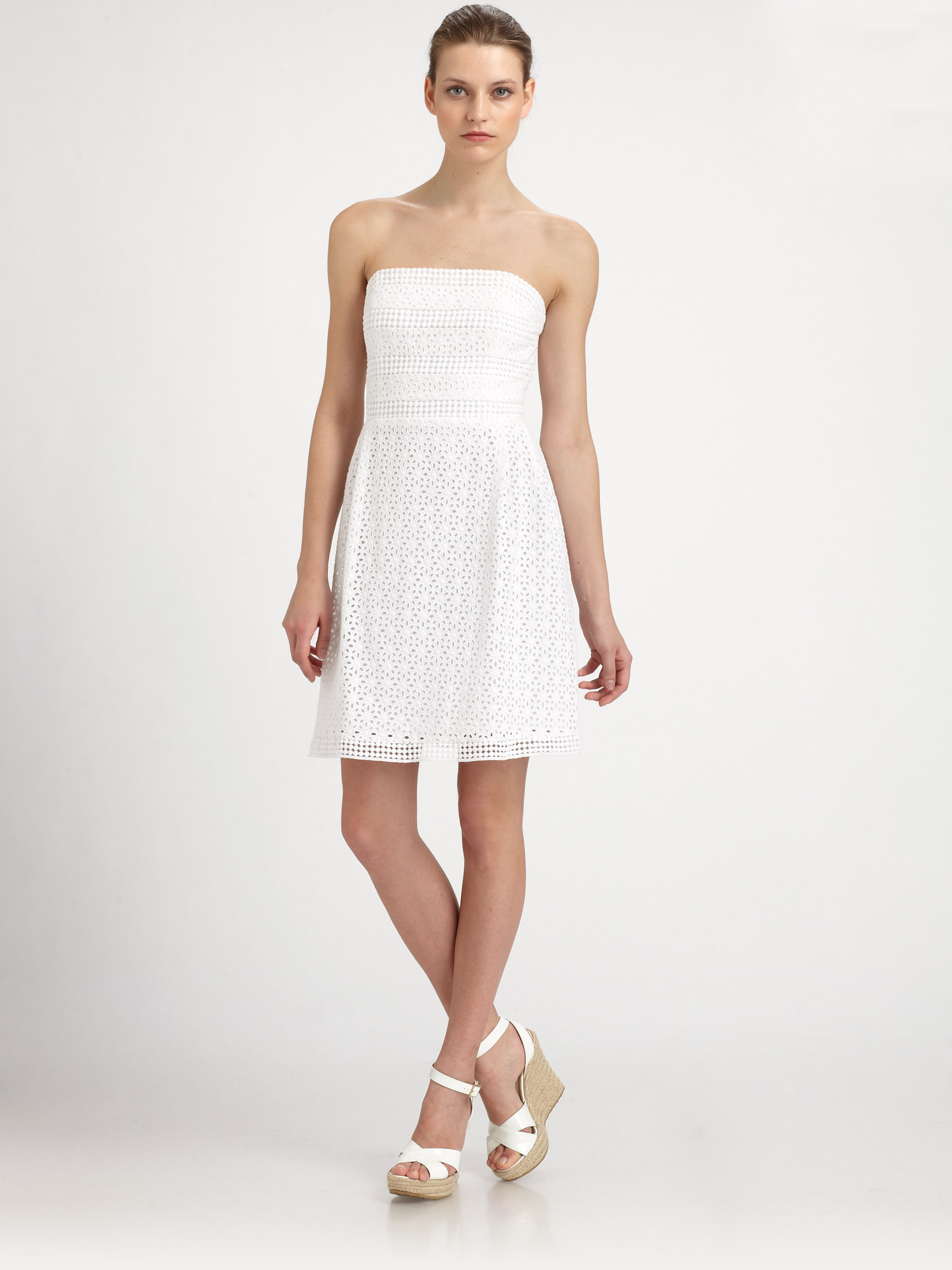 bcf9b090b63c Very Lyst - Laundry By Shelli Segal Strapless Cotton Eyelet Dress in White  RC86