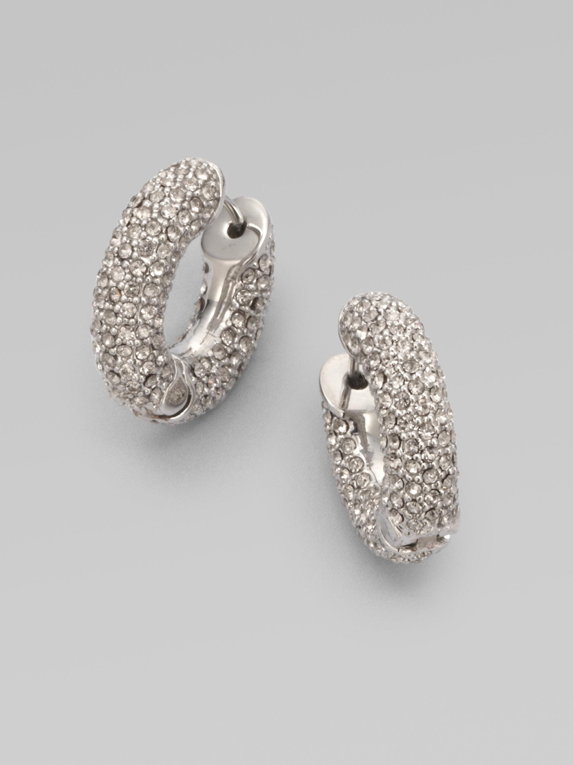 Michael kors Embellished Huggie Hoop Earrings in Metallic