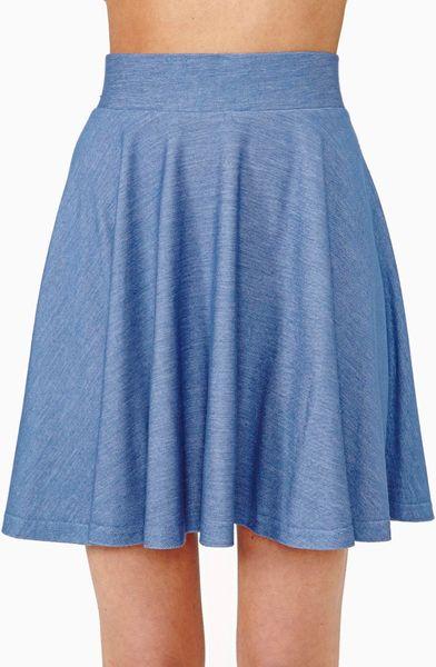 gal summer skater skirt in blue light denim