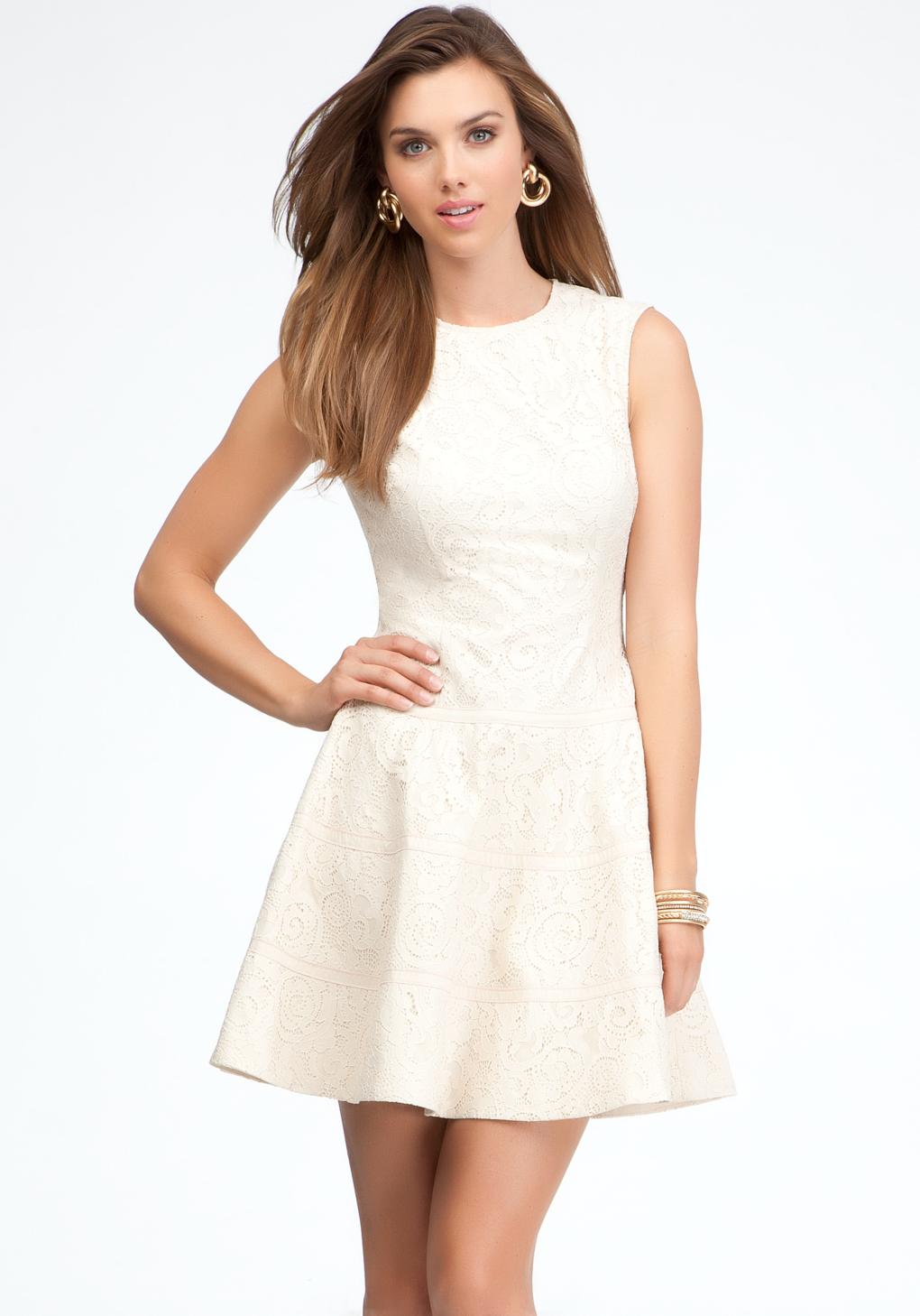 f30d30b723d Lyst - Bebe Sleeveless Lace Fit Flare Dress in White