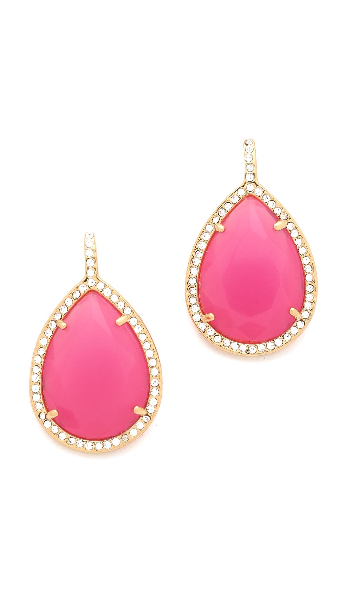 juicy couture pave teardrop earrings in pink raspberry. Black Bedroom Furniture Sets. Home Design Ideas