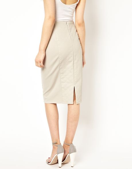 river island leather look quilted skirt in white lyst