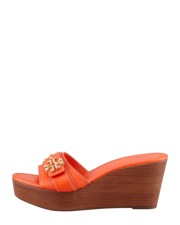 51c28f93f796 Lyst - Tory Burch Elina Midwedge Slide Sandal Orange in Orange
