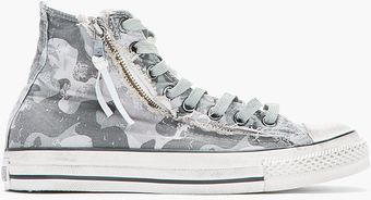 Converse Grey Camo Chuck Taylor All Star Double Zip Duck Canvas Hitops - Lyst